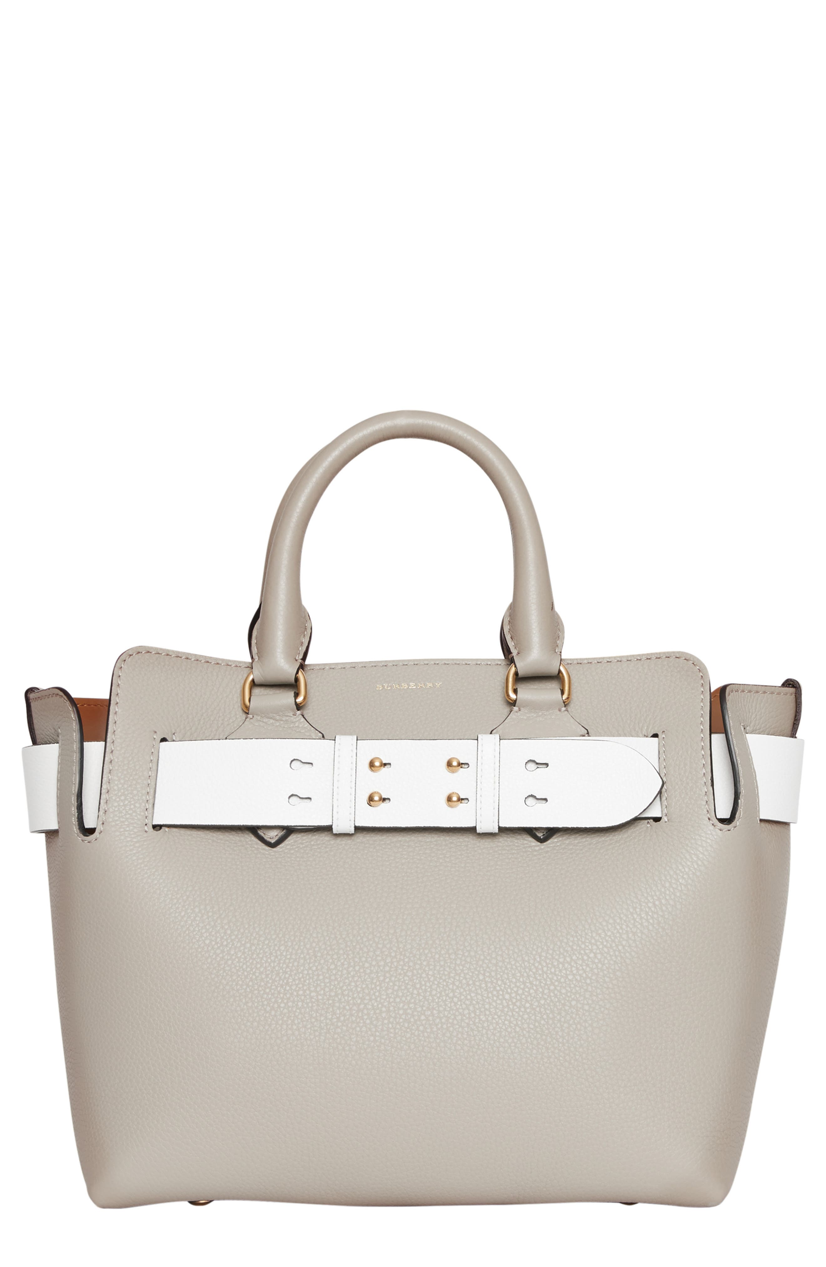 Small Contrast Belt Leather Tote, Main, color, MINERAL GREY
