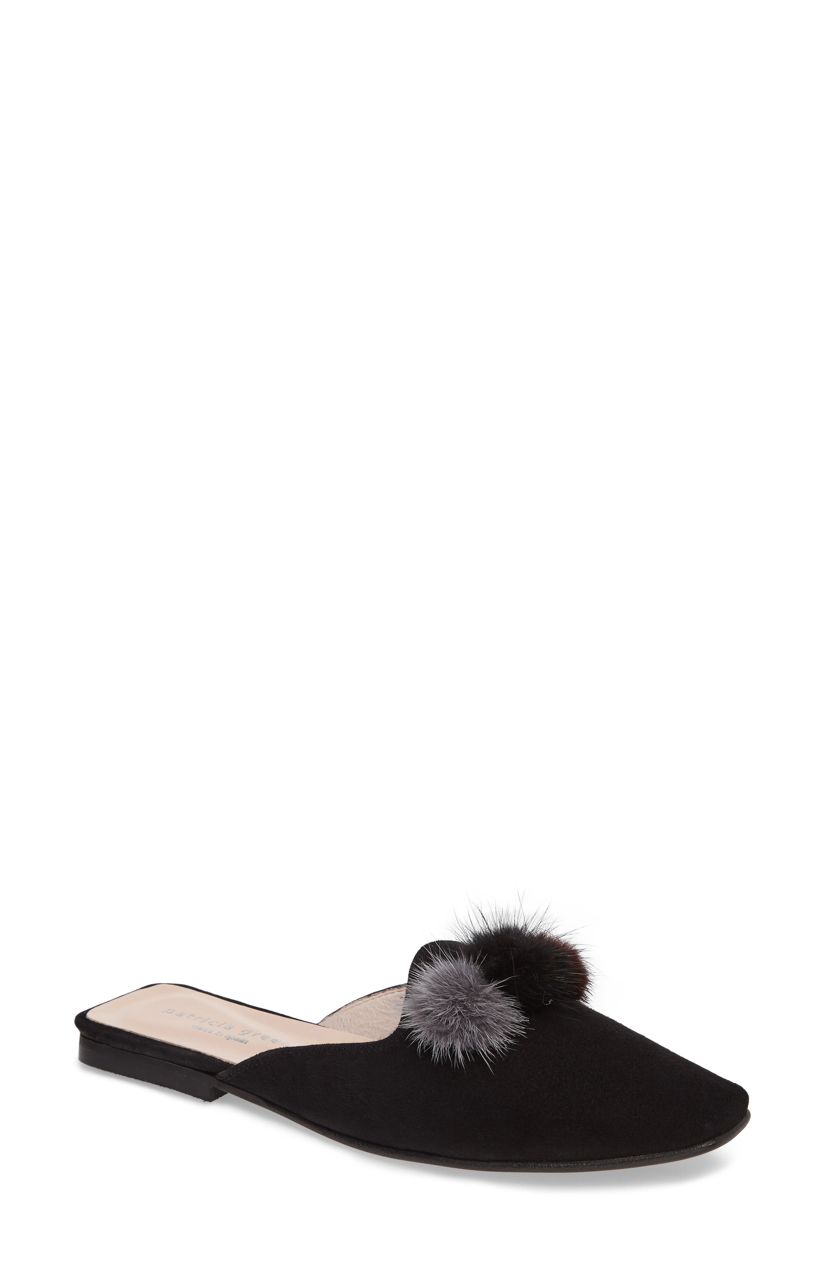 Cerise Genuine Fur Mule,                         Main,                         color,