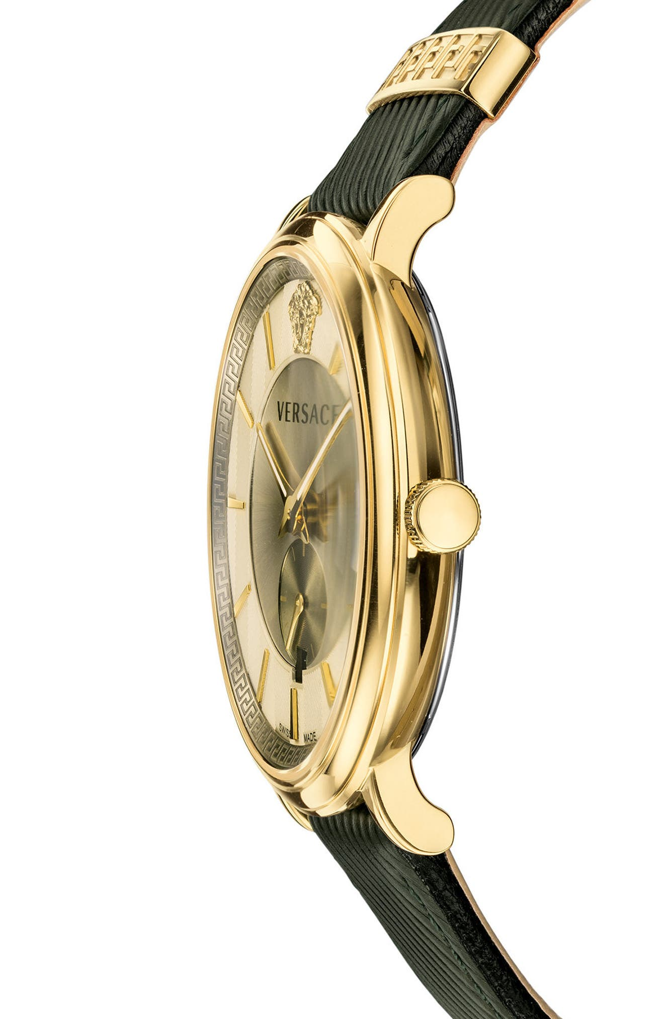 Manifesto Leather Strap Watch, 42mm,                             Alternate thumbnail 3, color,                             GREEN/ BRASS/ GOLD