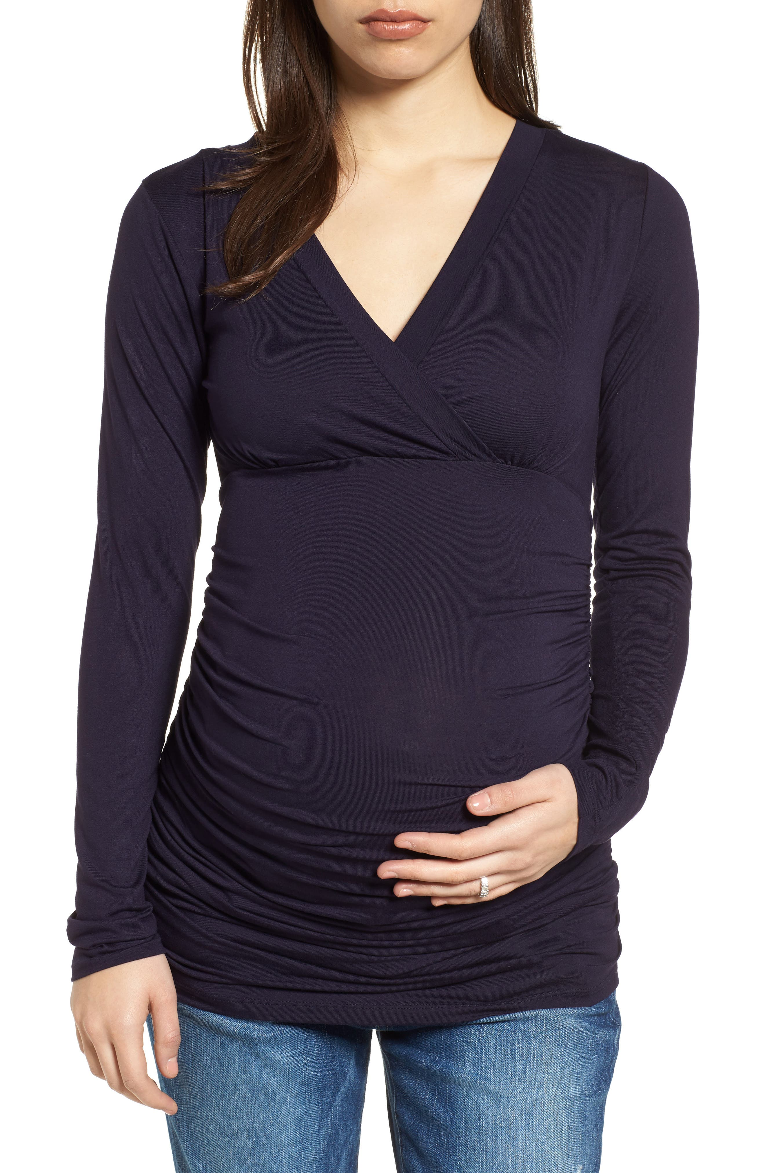 'Poppy' Ruched Surplice Maternity Top,                         Main,                         color, DARKEST NAVY