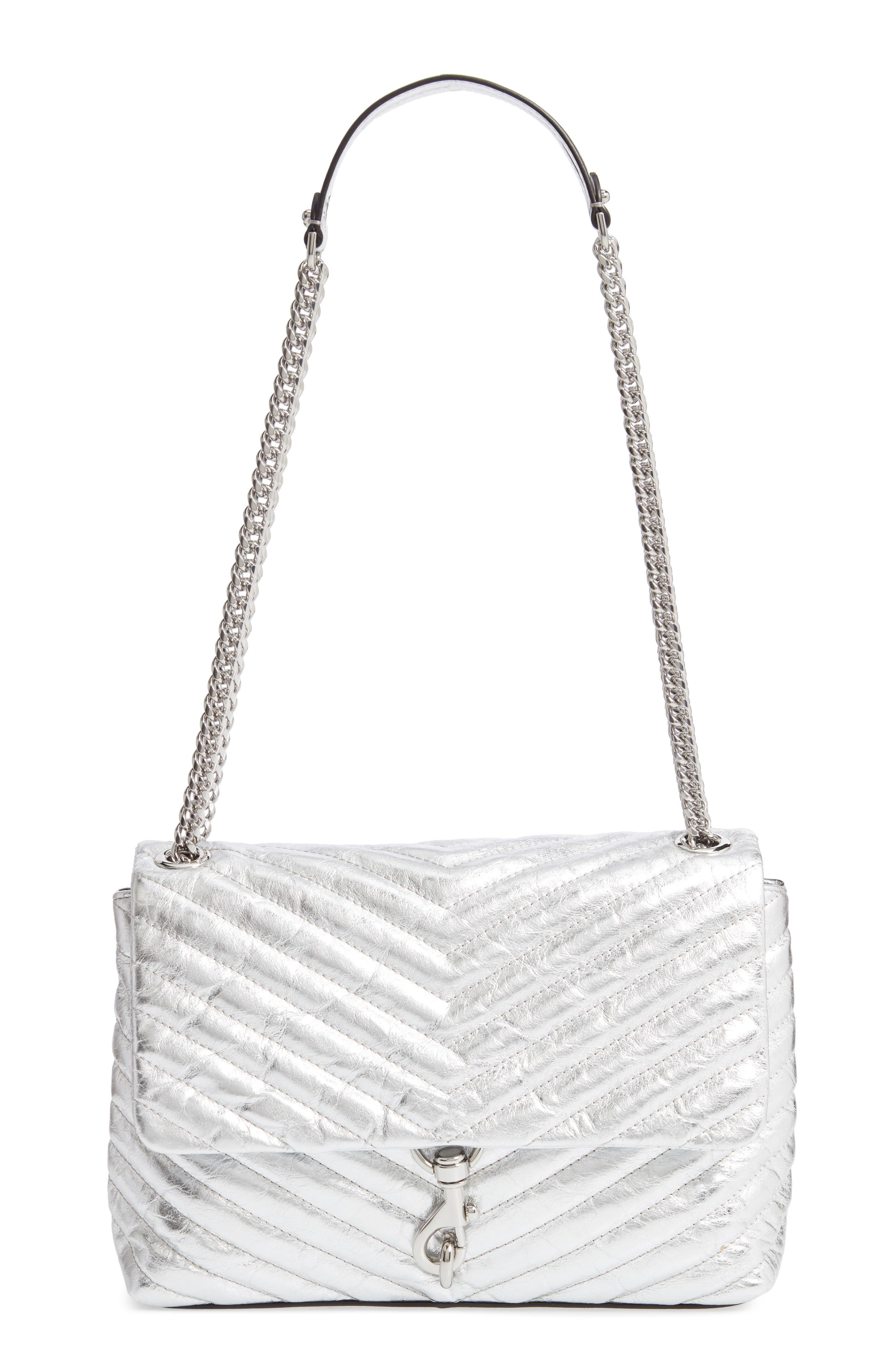 Edie Metallic Leather Shoulder Bag,                         Main,                         color, SILVER