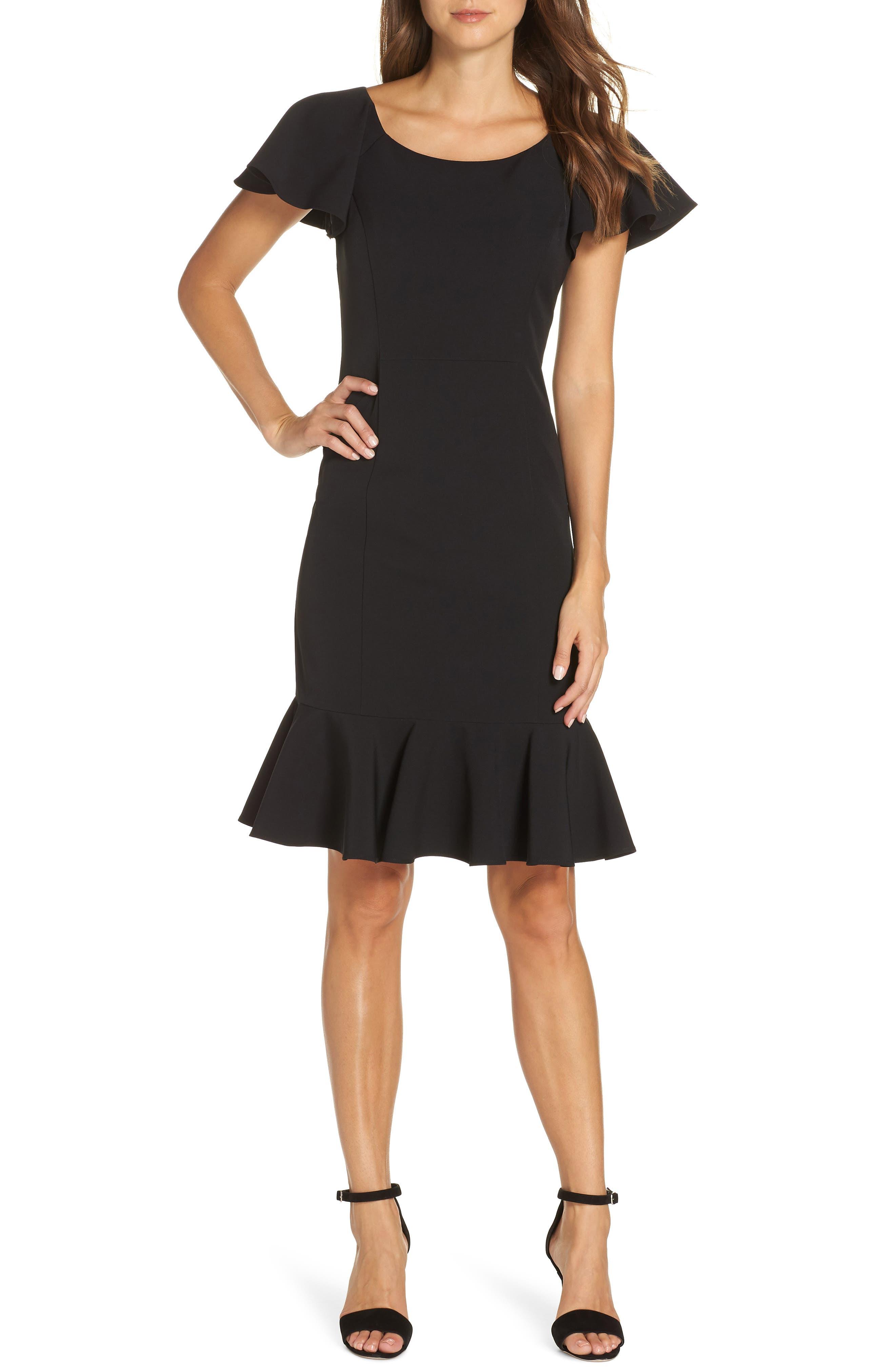 Eliza J Ruffle Hem Sheath Dress, Black