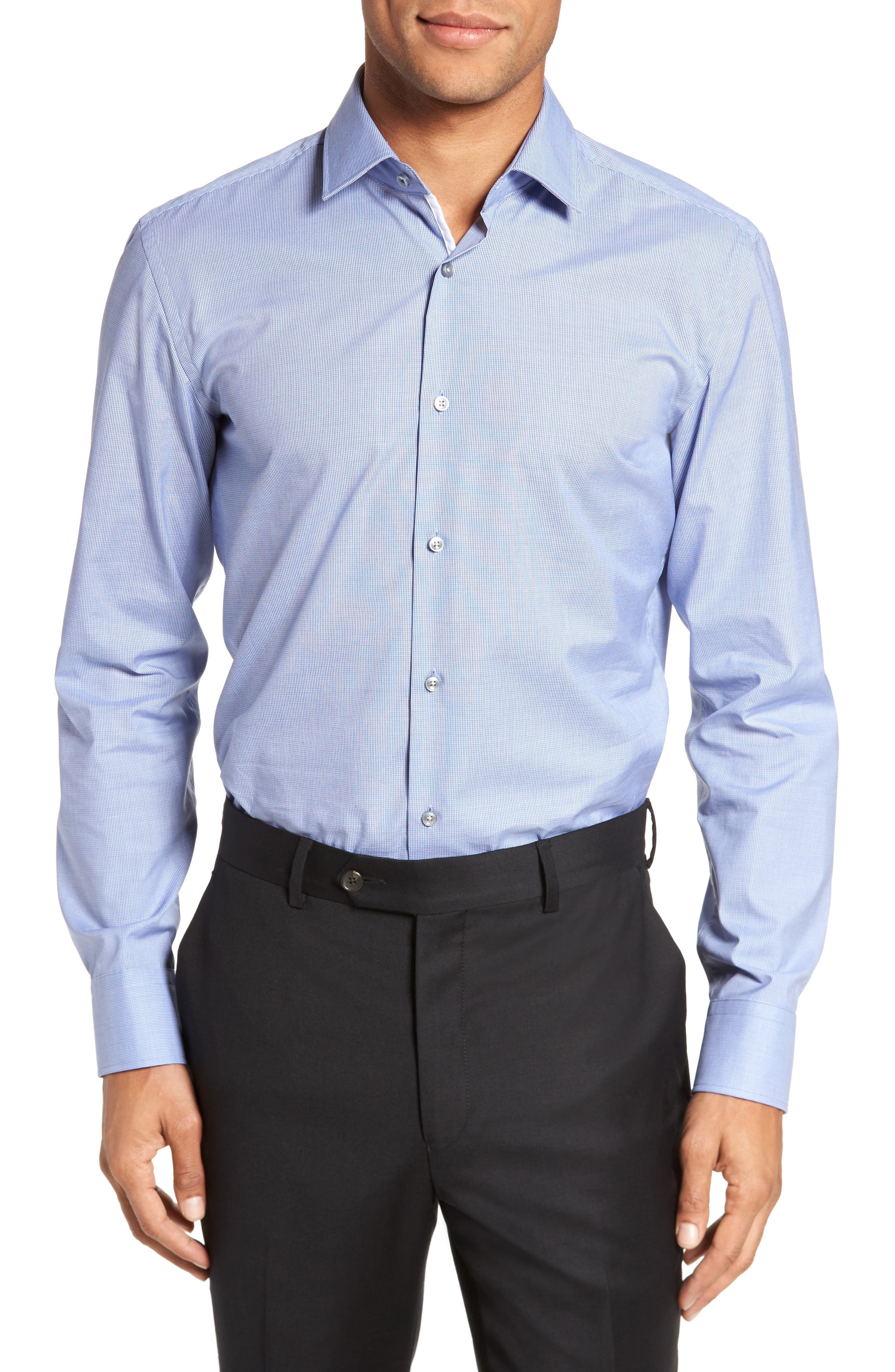 Jerris Slim Fit Easy Iron Check Dress Shirt,                             Main thumbnail 1, color,                             NAVY