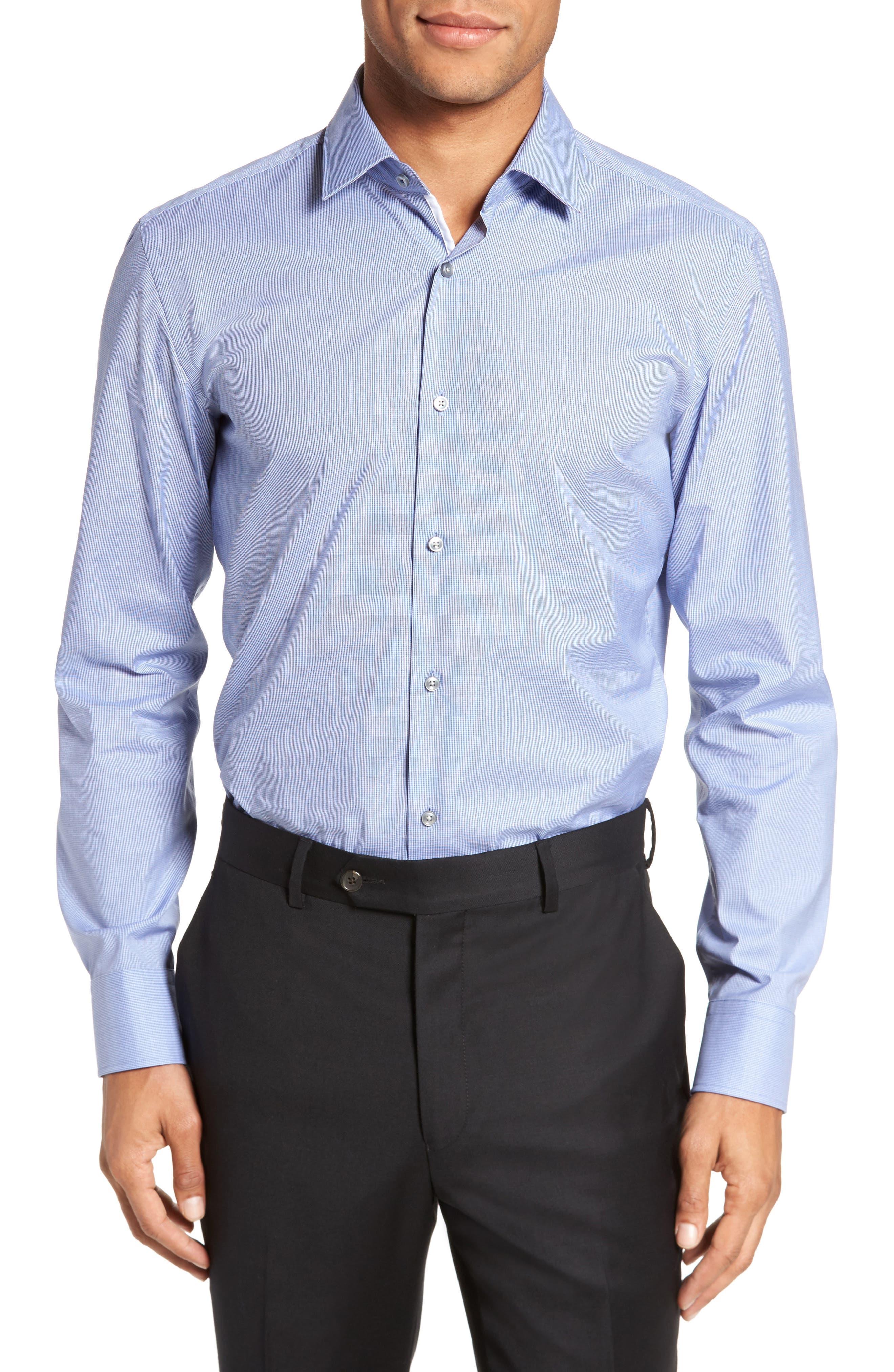 Jerris Slim Fit Easy Iron Check Dress Shirt,                         Main,                         color, NAVY