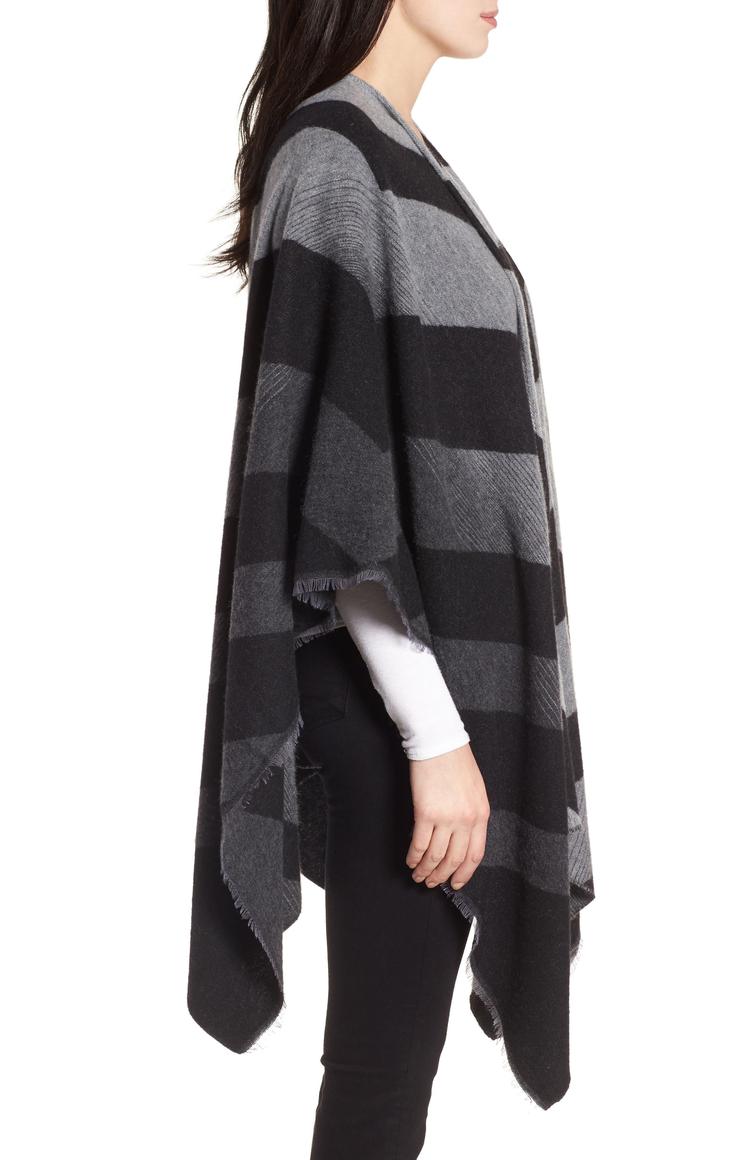 Stripe Wool Blend Poncho Wrap,                             Alternate thumbnail 3, color,                             030