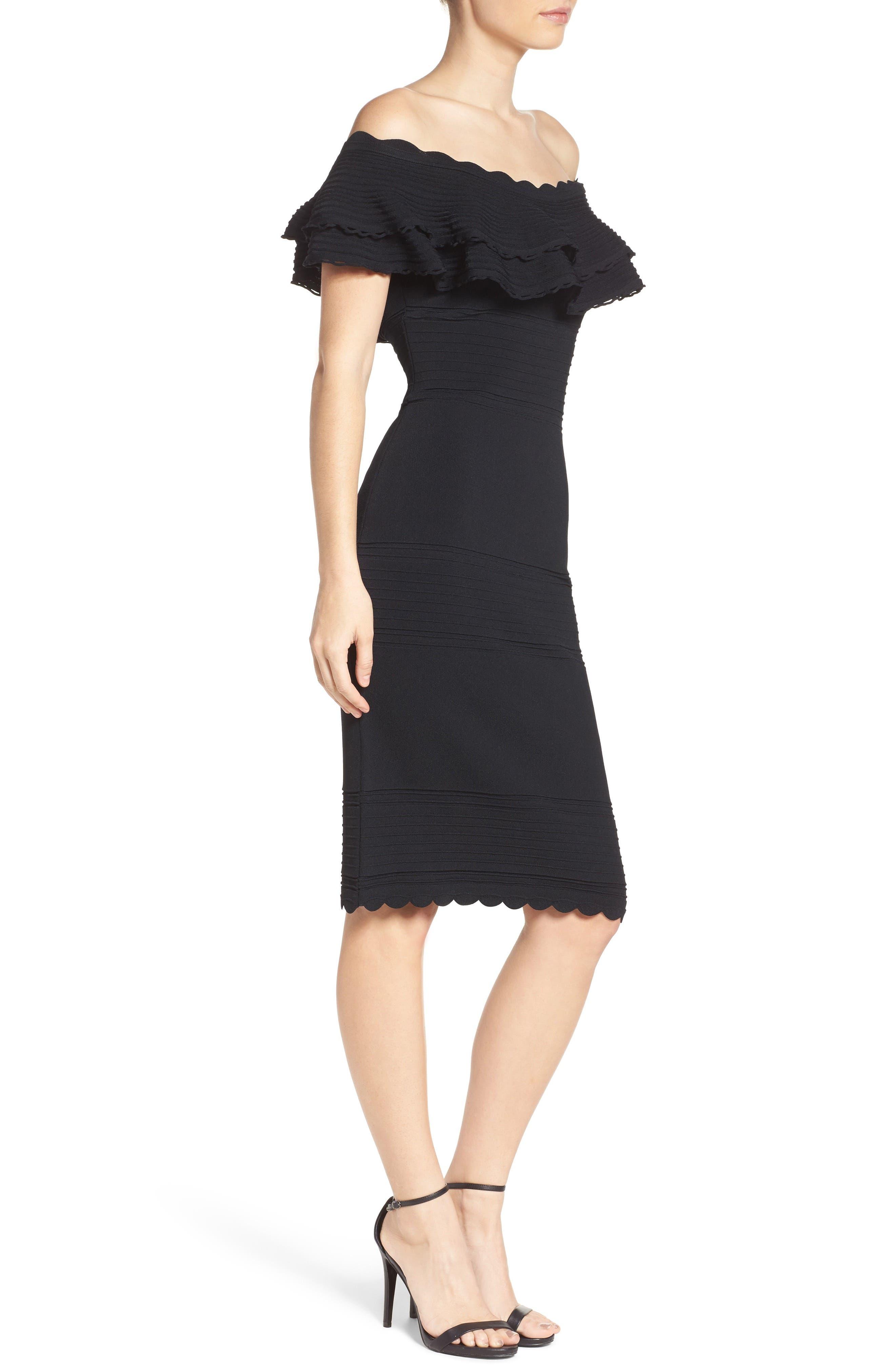 Off the Shoulder Sheath Dress,                             Alternate thumbnail 3, color,                             BLACK