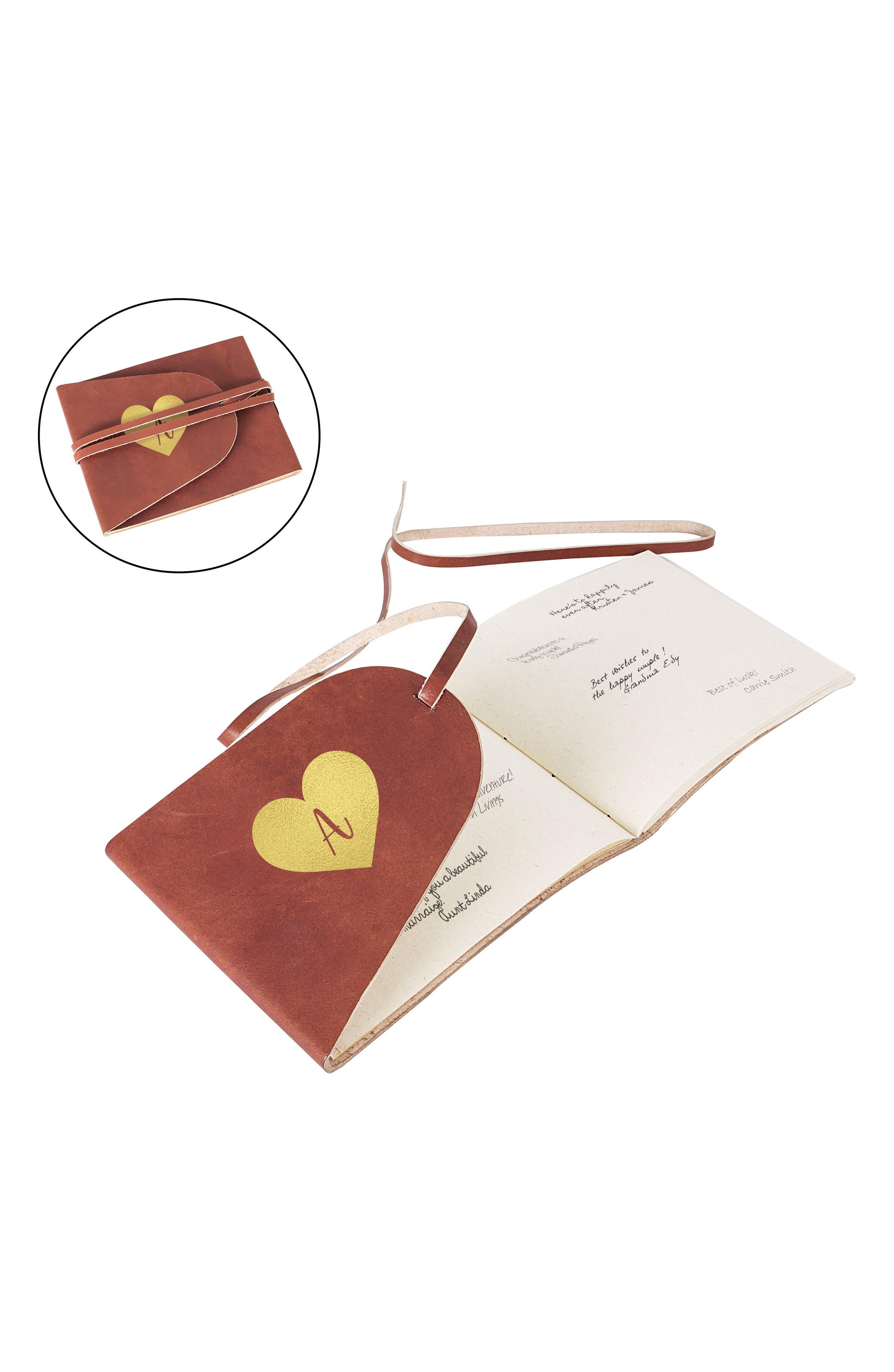 Monogram Leather Guest Book,                             Main thumbnail 1, color,                             710