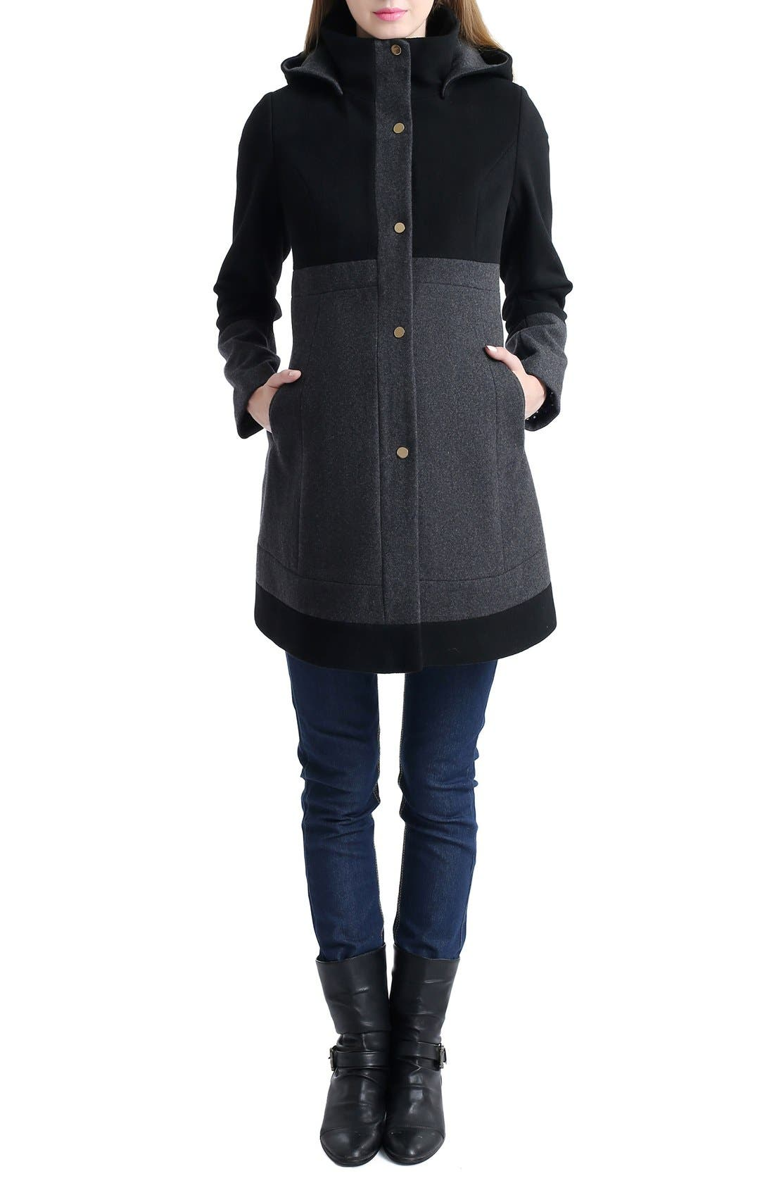'Tessa' Colorblock Maternity Coat,                             Main thumbnail 1, color,                             BLACK