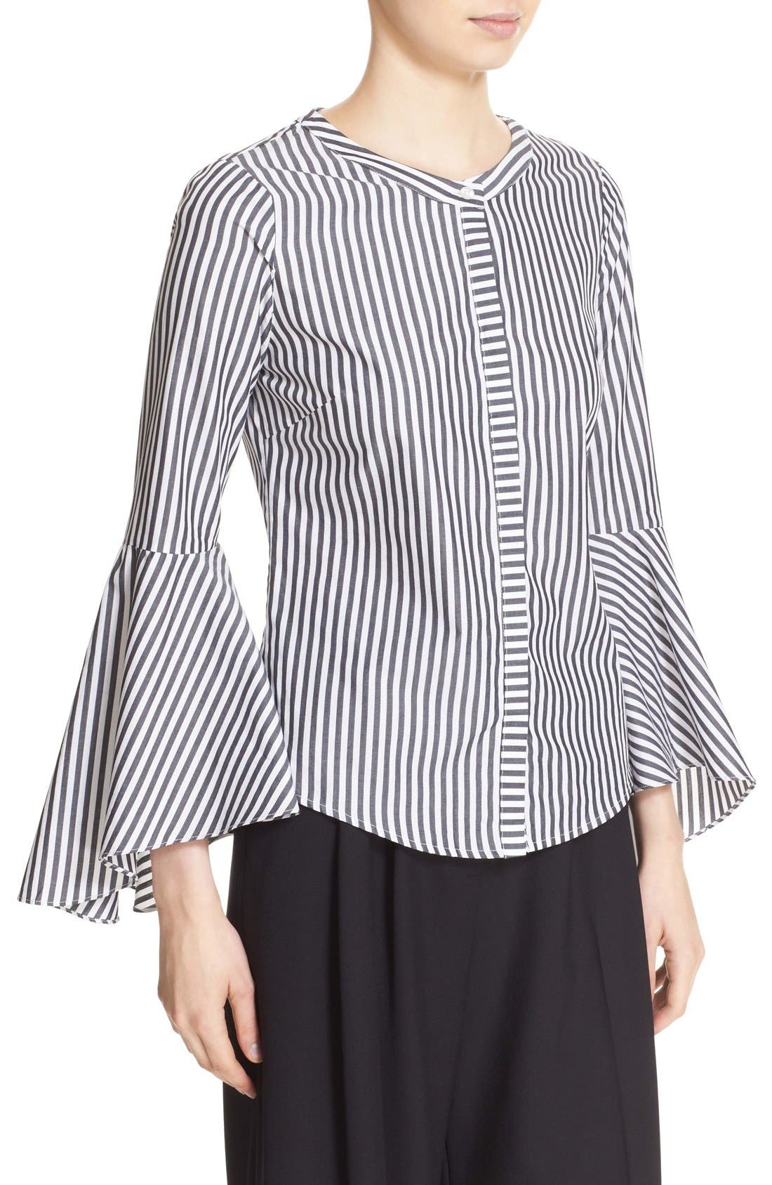 'Ruthie' Stripe Cotton Bell Sleeve Blouse,                             Alternate thumbnail 2, color,                             001