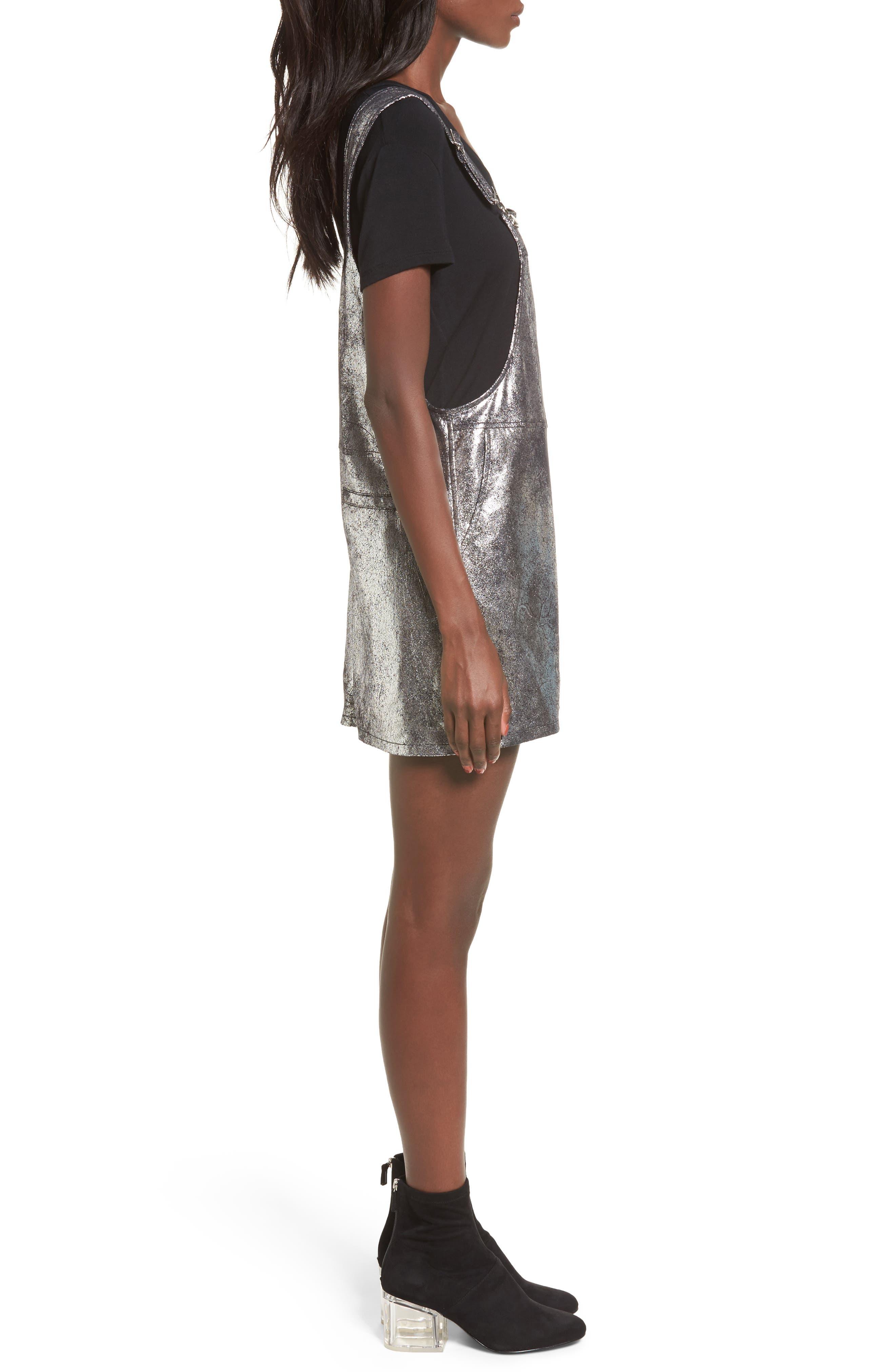 Metallic Overall Minidress,                             Alternate thumbnail 3, color,