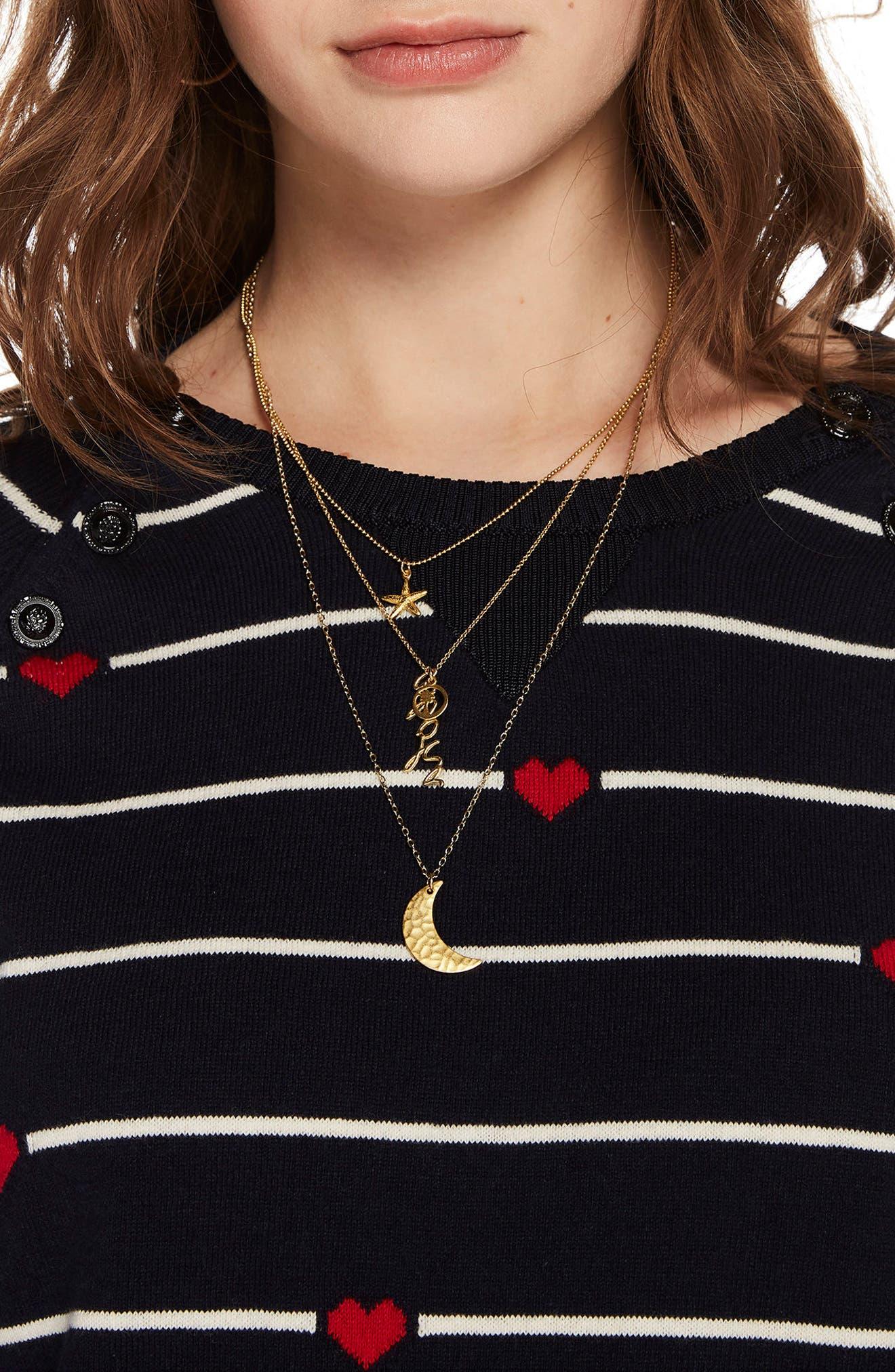 Button Detail Heart Stripe Sweater,                             Alternate thumbnail 3, color,                             18 COMBO B