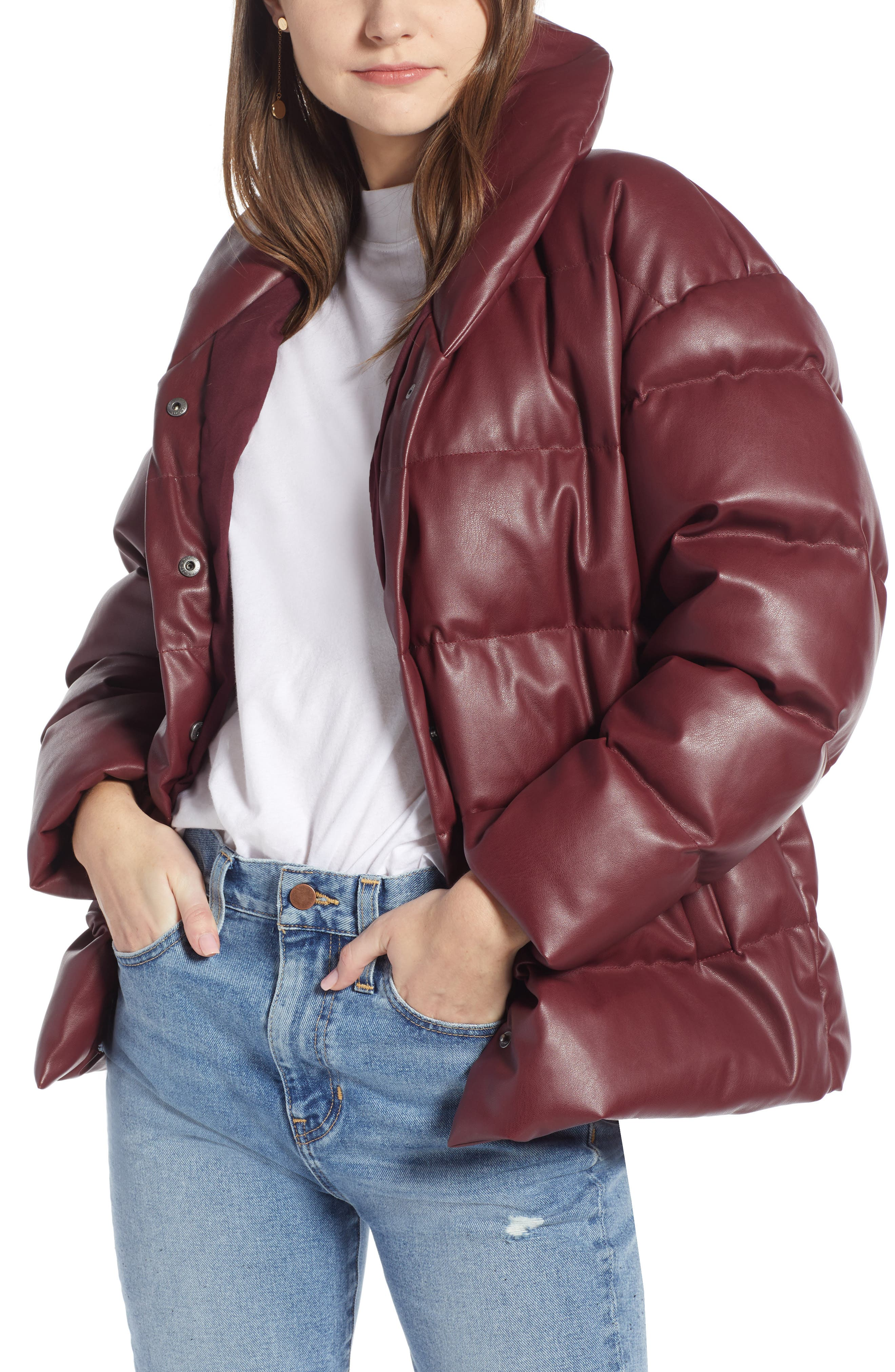 SOMETHING NAVY,                             Faux Leather Puffer Coat,                             Main thumbnail 1, color,                             601