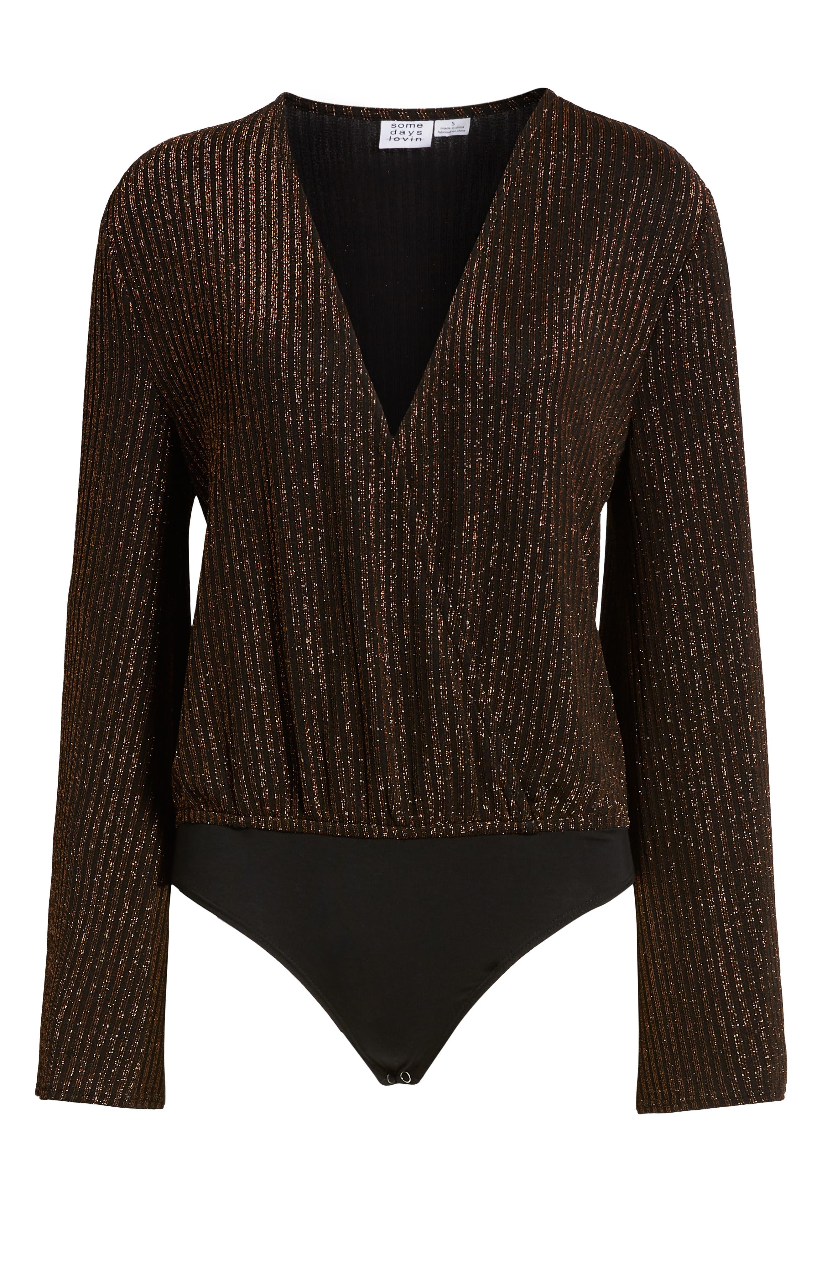 Love Love Metallic Ribbed Bodysuit,                             Alternate thumbnail 6, color,                             BLACK/ ROSE GOLD
