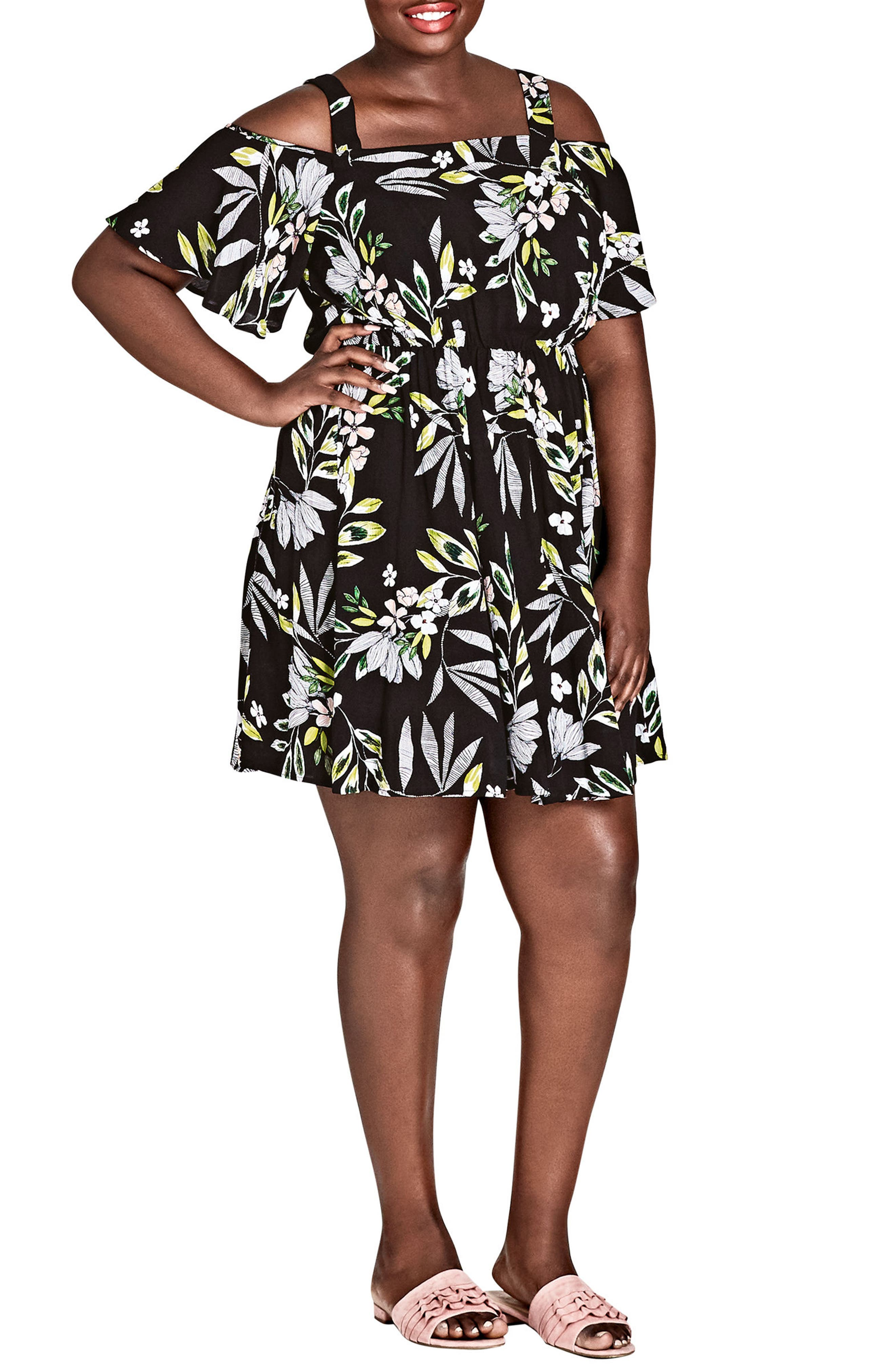Maui Floral Cold Shoulder Dress,                             Main thumbnail 1, color,                             MAUI FLORAL