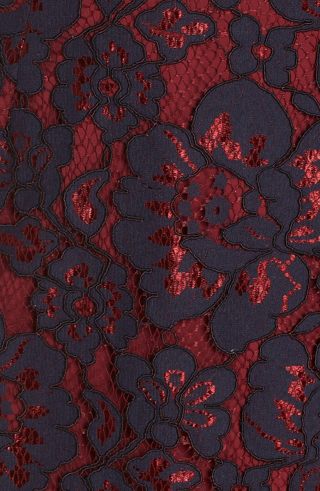 Lace Sheath Dress,                             Alternate thumbnail 6, color,                             NAVY/ WINE LACE