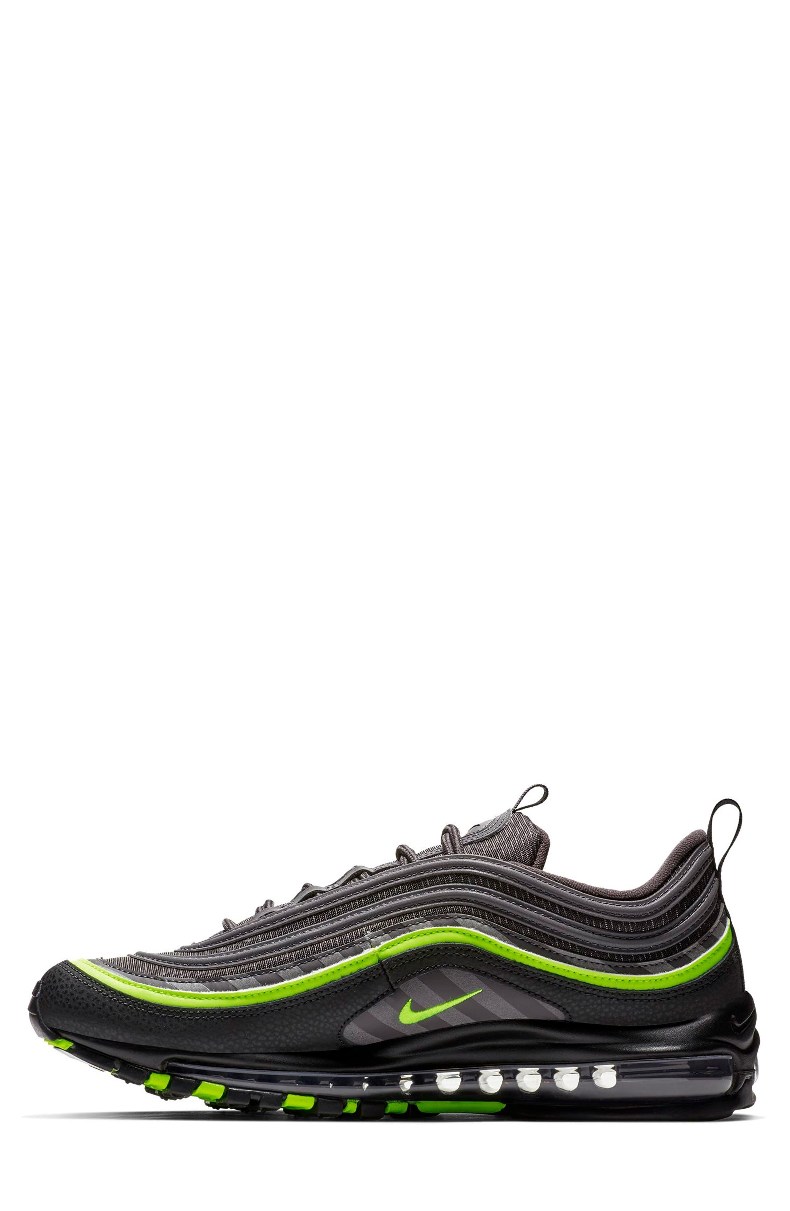 Air Max 97 Sneaker,                             Alternate thumbnail 3, color,                             THUNDER GREY/ LIME/ BLACK