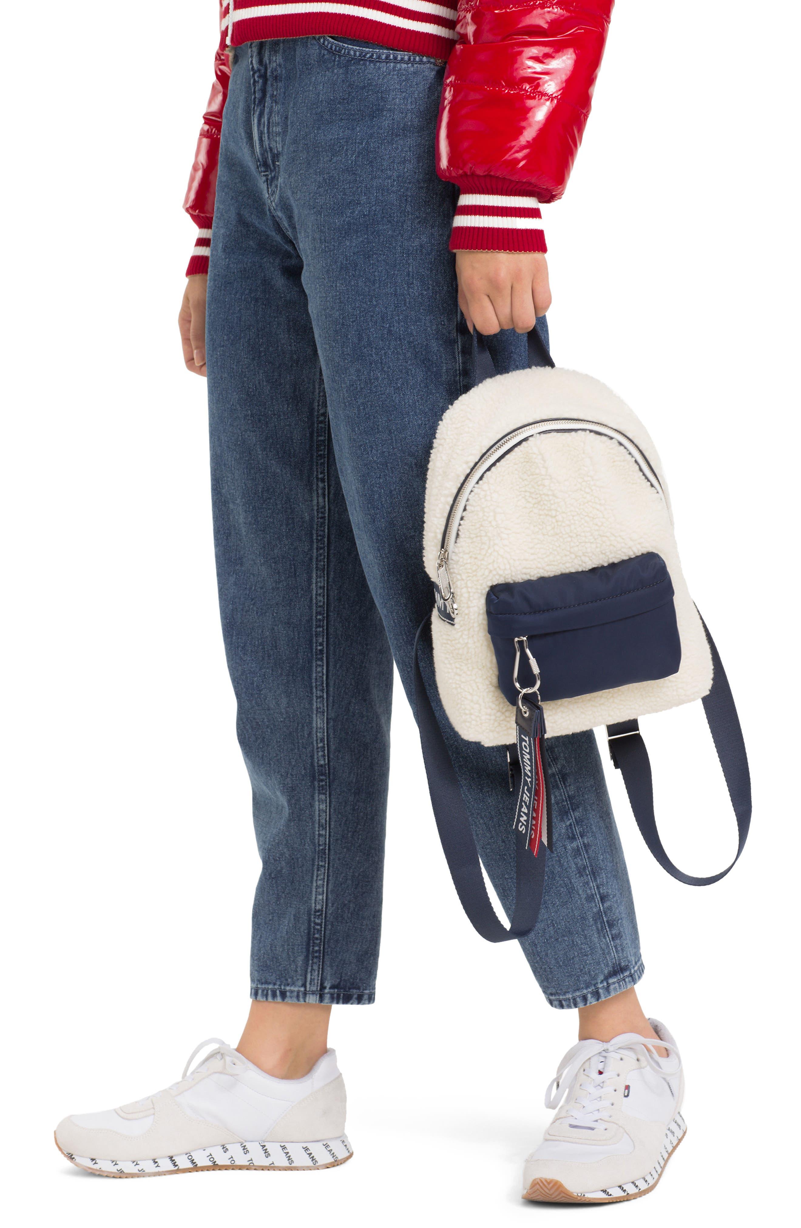 Logo Strap Fleece Mini Backpack,                             Alternate thumbnail 2, color,                             PUMICE STONE
