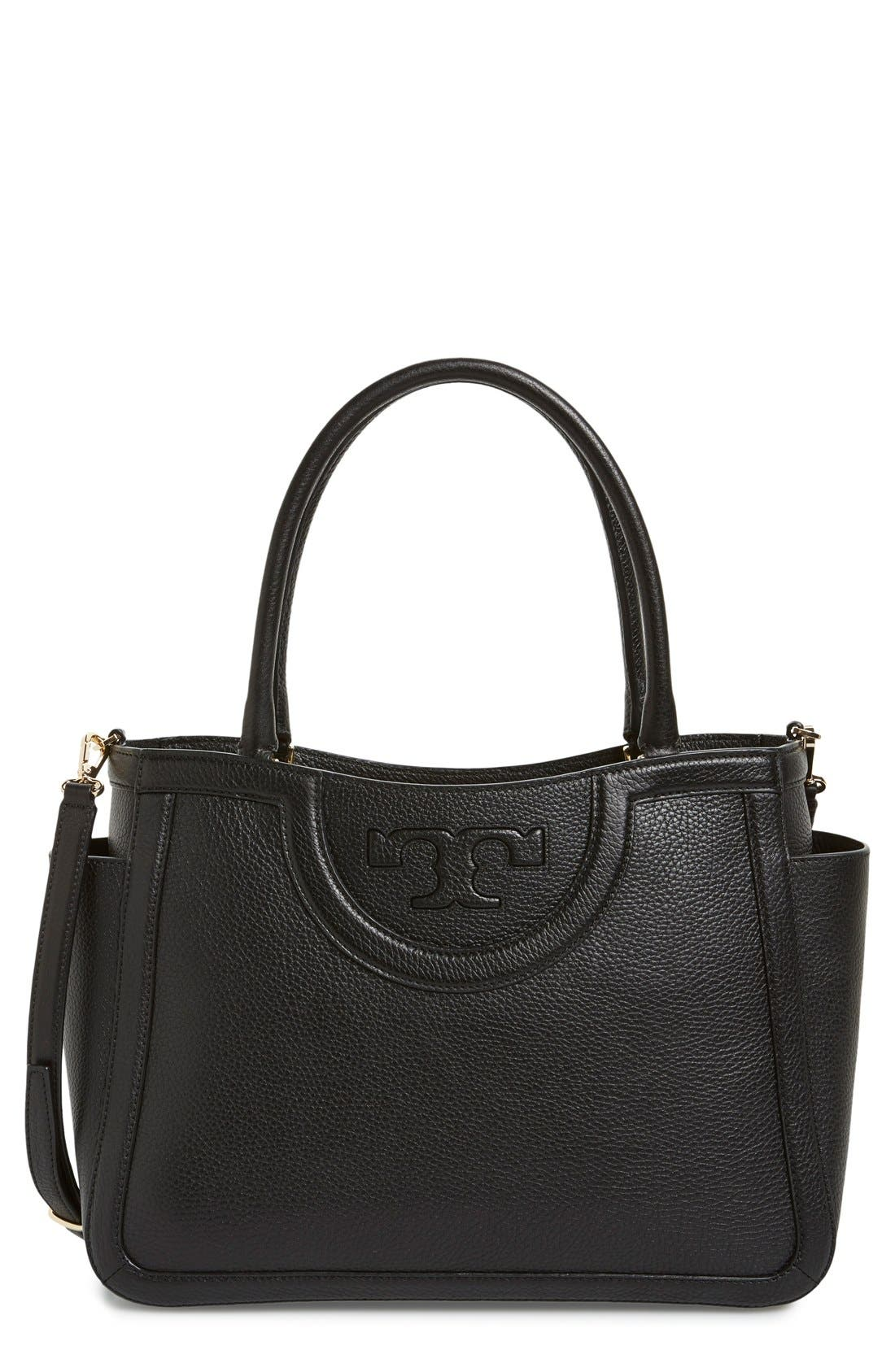 TORY BURCH 'Serif T' Leather Crossbody Satchel, Main, color, 001