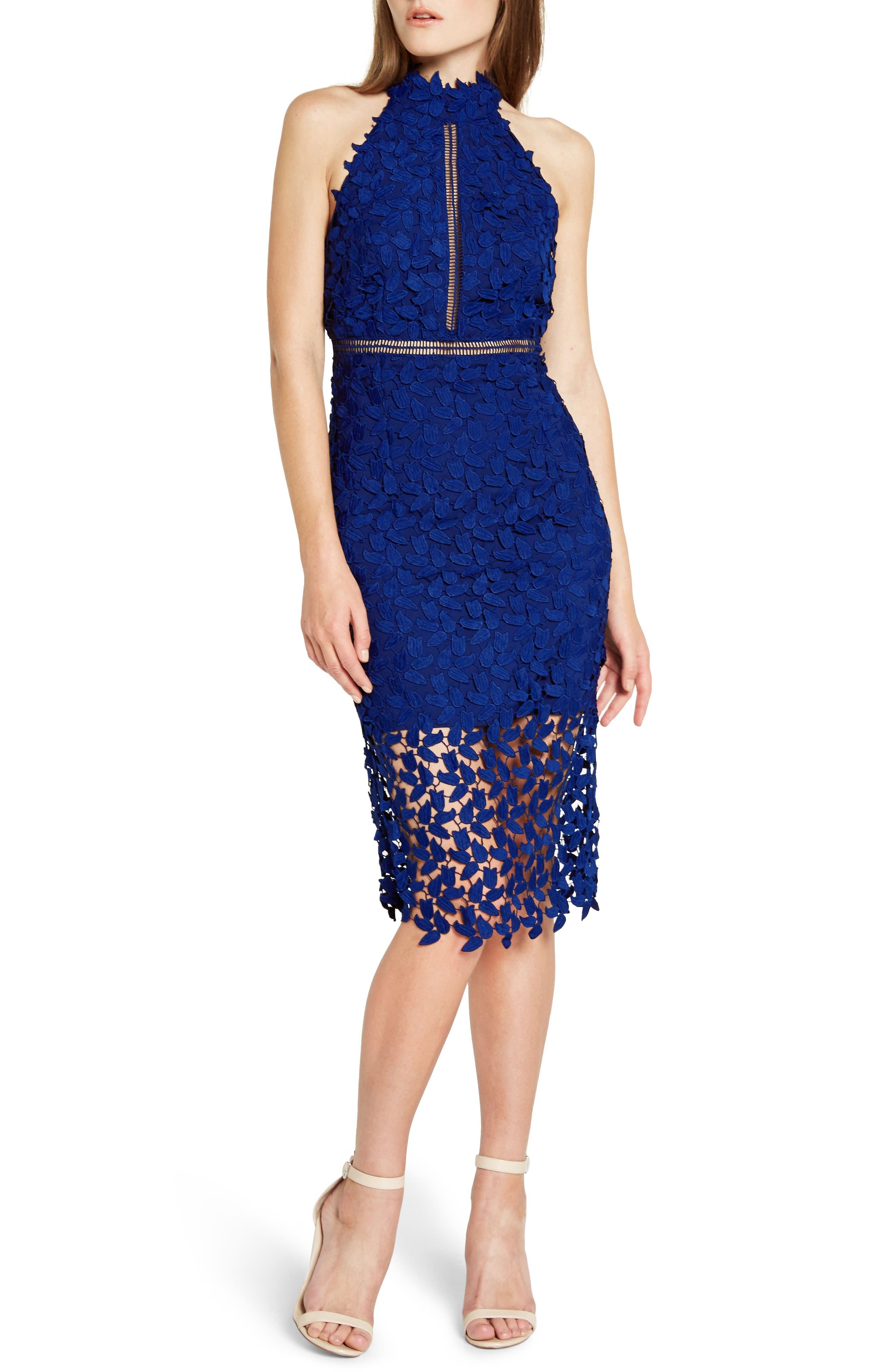 Gemma Halter Lace Sheath Dress,                             Main thumbnail 1, color,                             COBALT