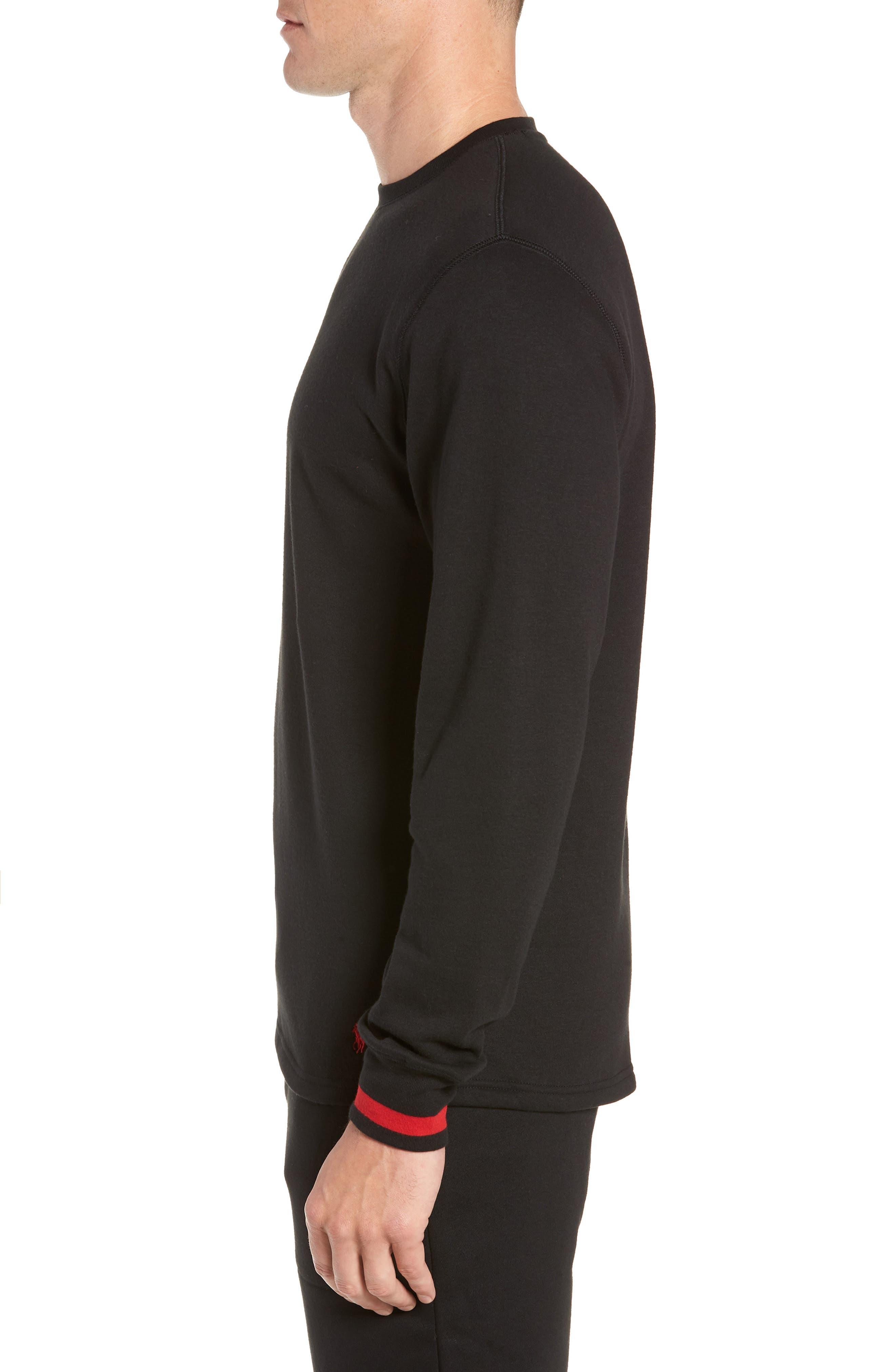 POLO RALPH LAUREN,                             Brushed Jersey Cotton Blend Crewneck Sweatshirt,                             Alternate thumbnail 3, color,                             POLO BLACK