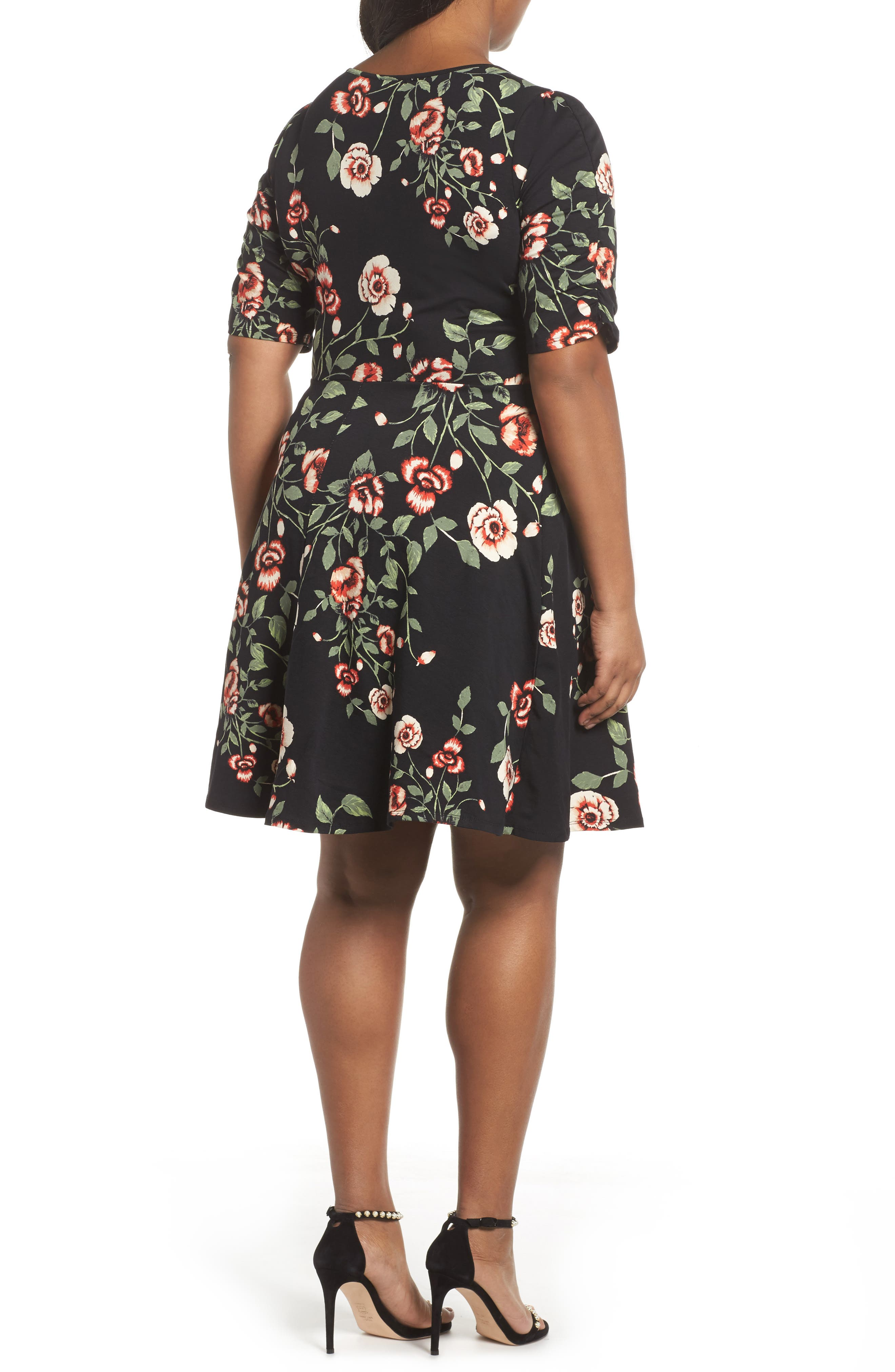 Ruched Sleeve Floral Fit & Flare Dress,                             Alternate thumbnail 2, color,                             001