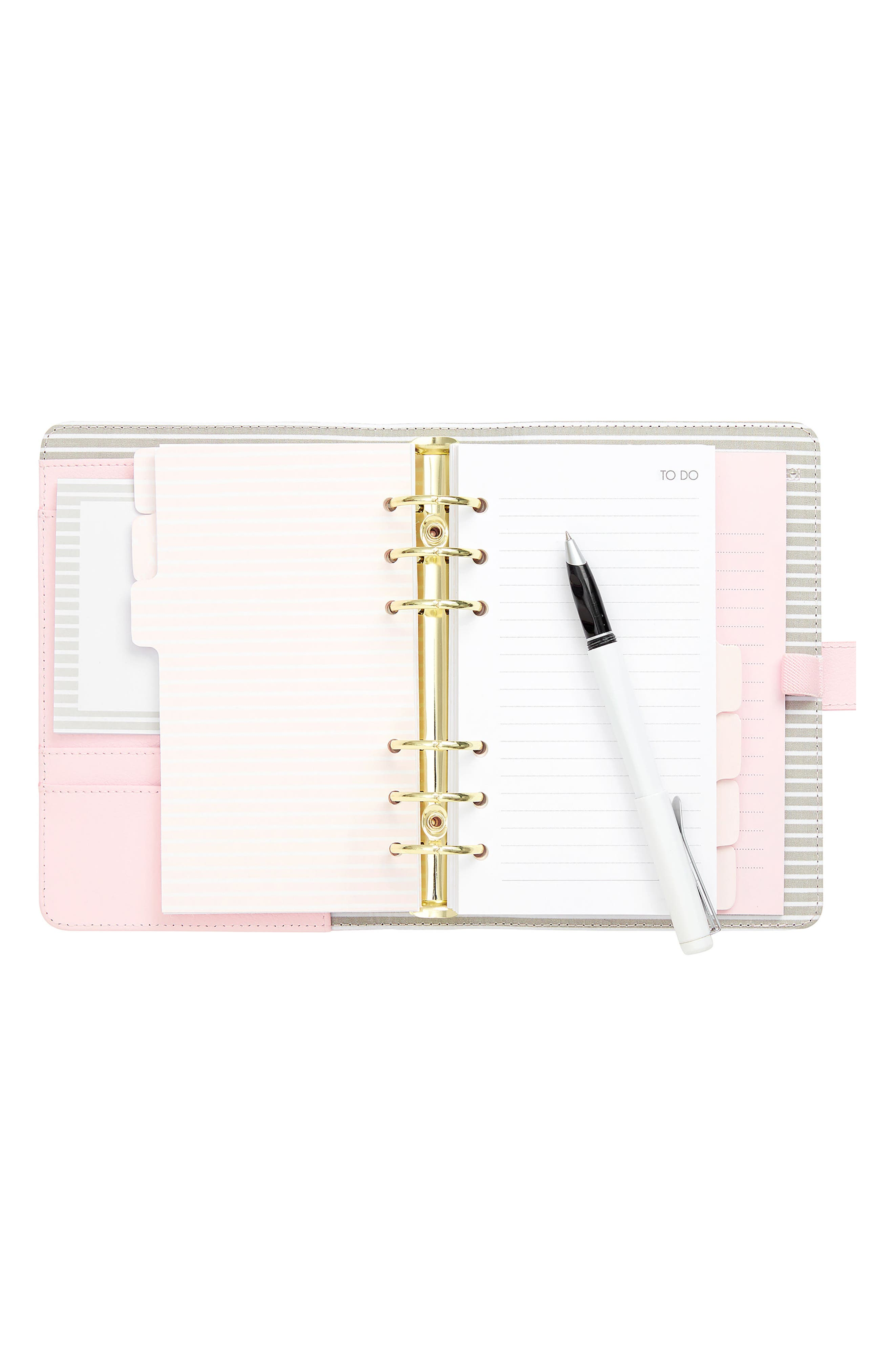 18-Month Zip-Around Leather Perpetual Planner,                             Alternate thumbnail 2, color,                             PALE PINK