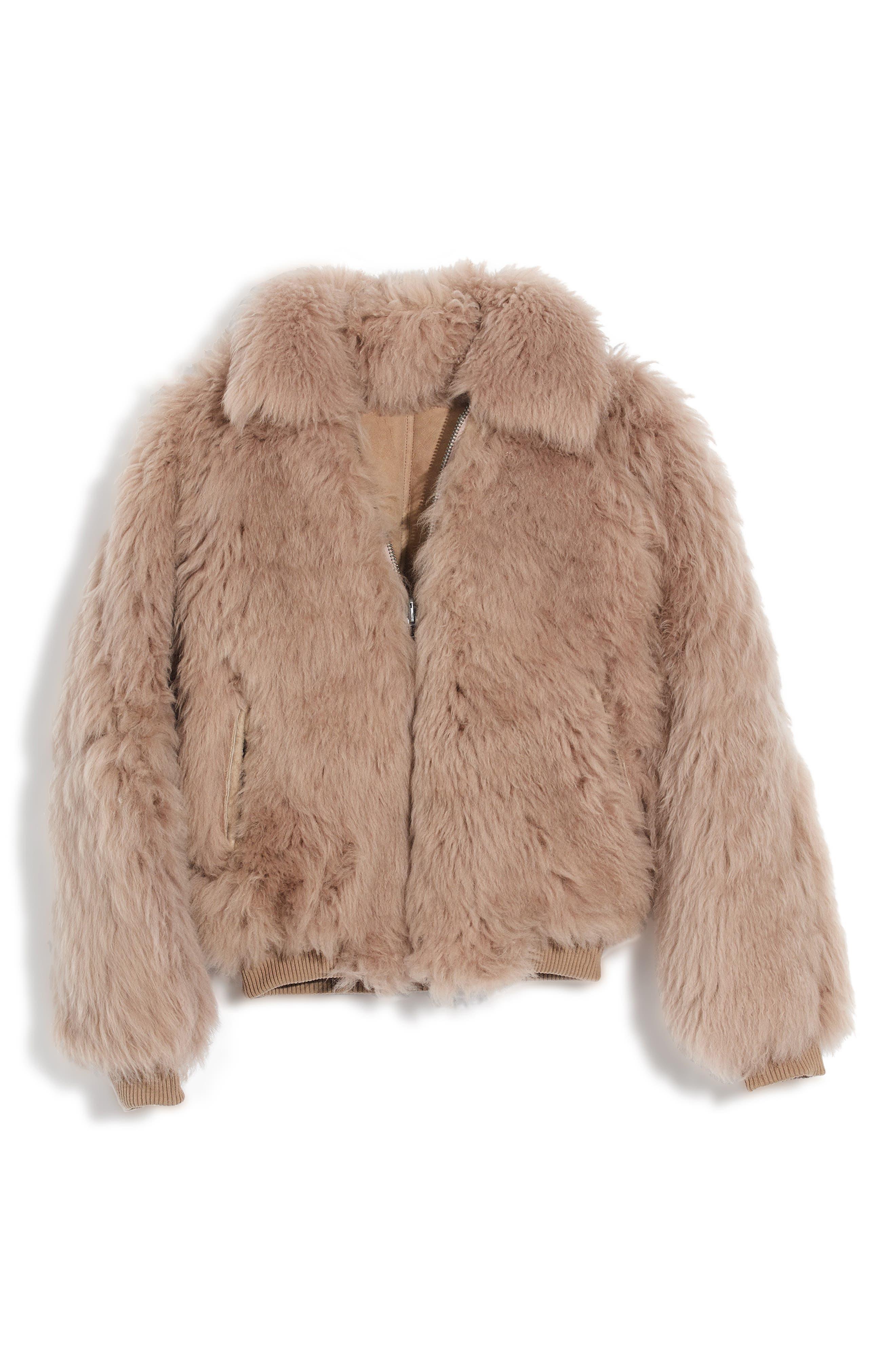 Genuine Shearling Mongolian Coat,                             Main thumbnail 1, color,                             250