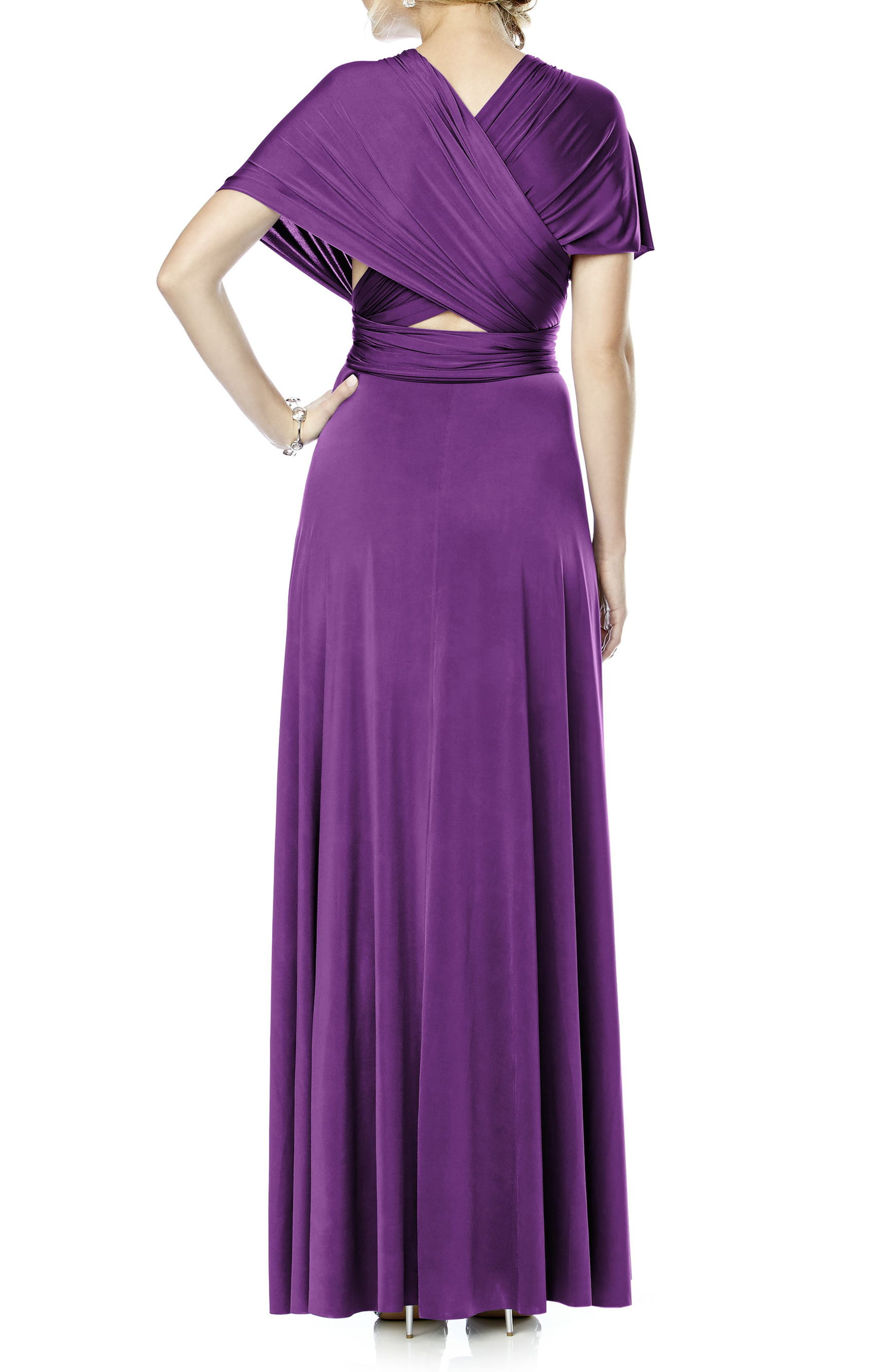 Convertible Wrap Tie Surplice Jersey Gown,                             Alternate thumbnail 23, color,