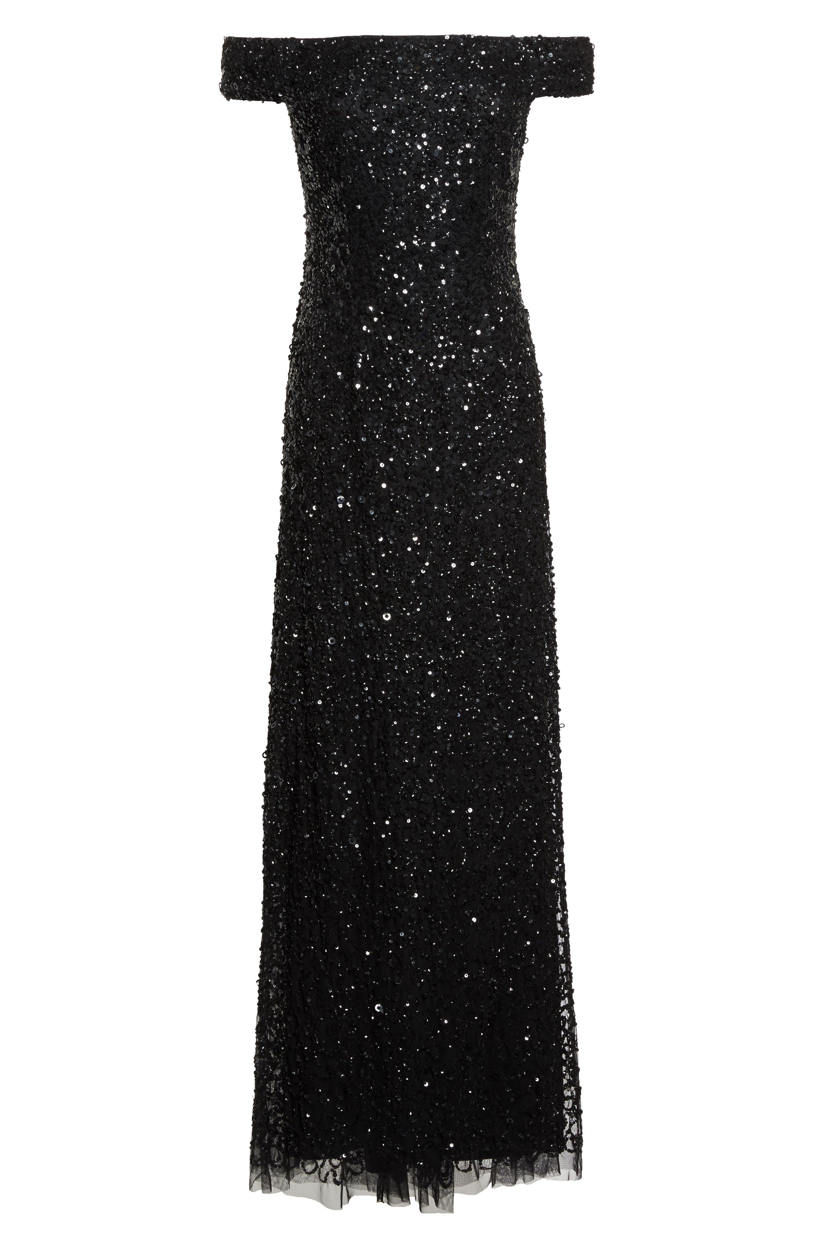 Sequin Mesh Gown,                             Alternate thumbnail 6, color,                             002