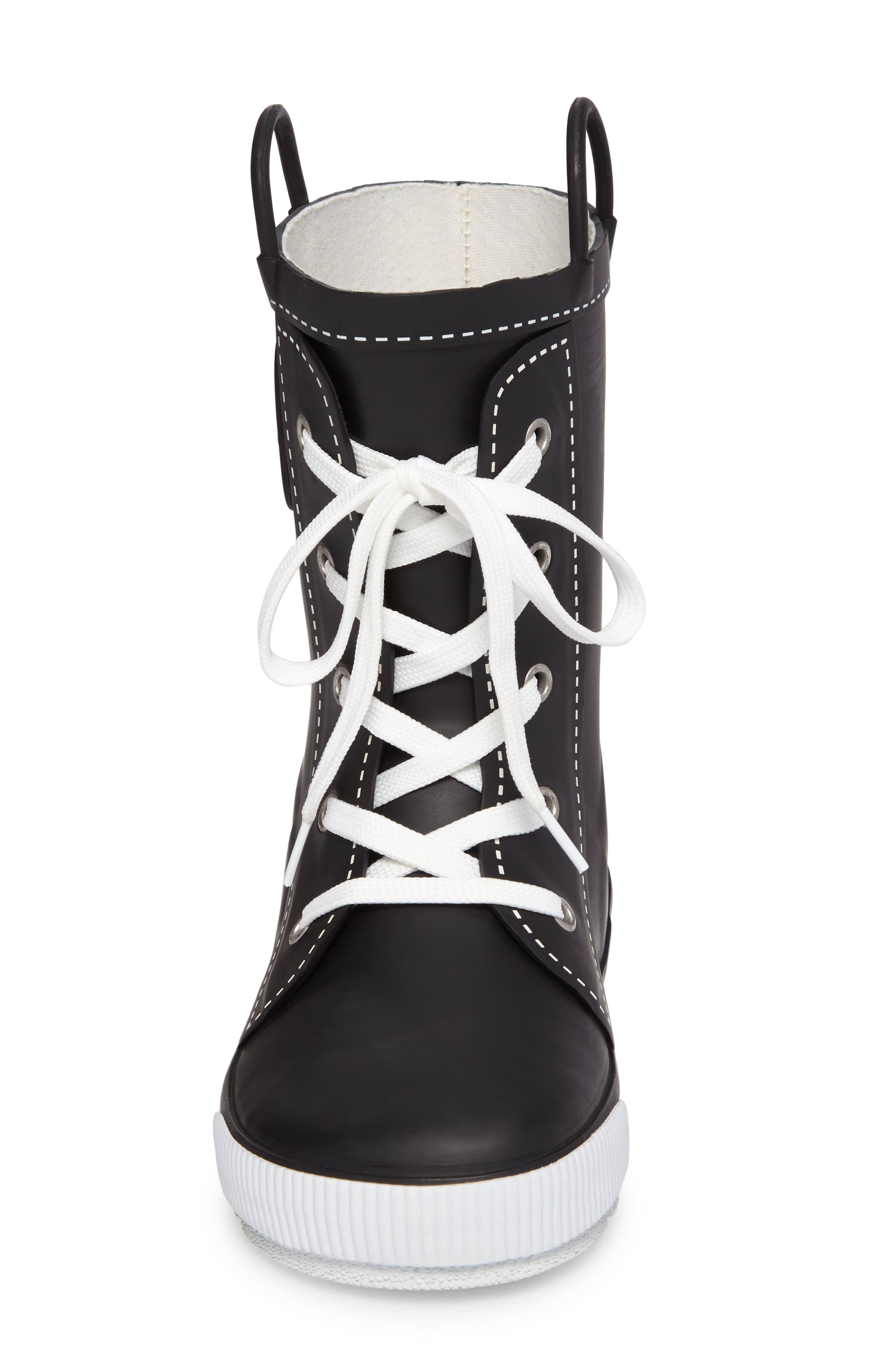 Waterproof Sneaker Rain Boot,                             Alternate thumbnail 4, color,                             001