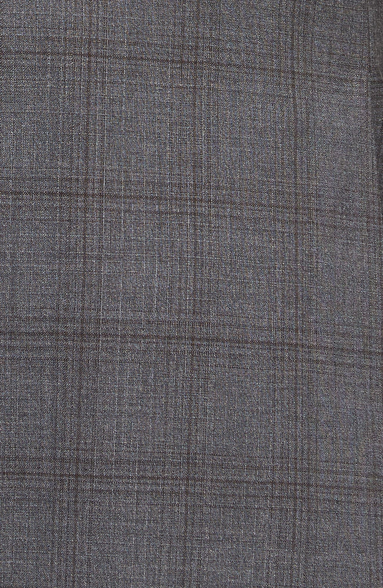 Jay Trim Fit Plaid Wool Suit,                             Alternate thumbnail 6, color,                             GREY