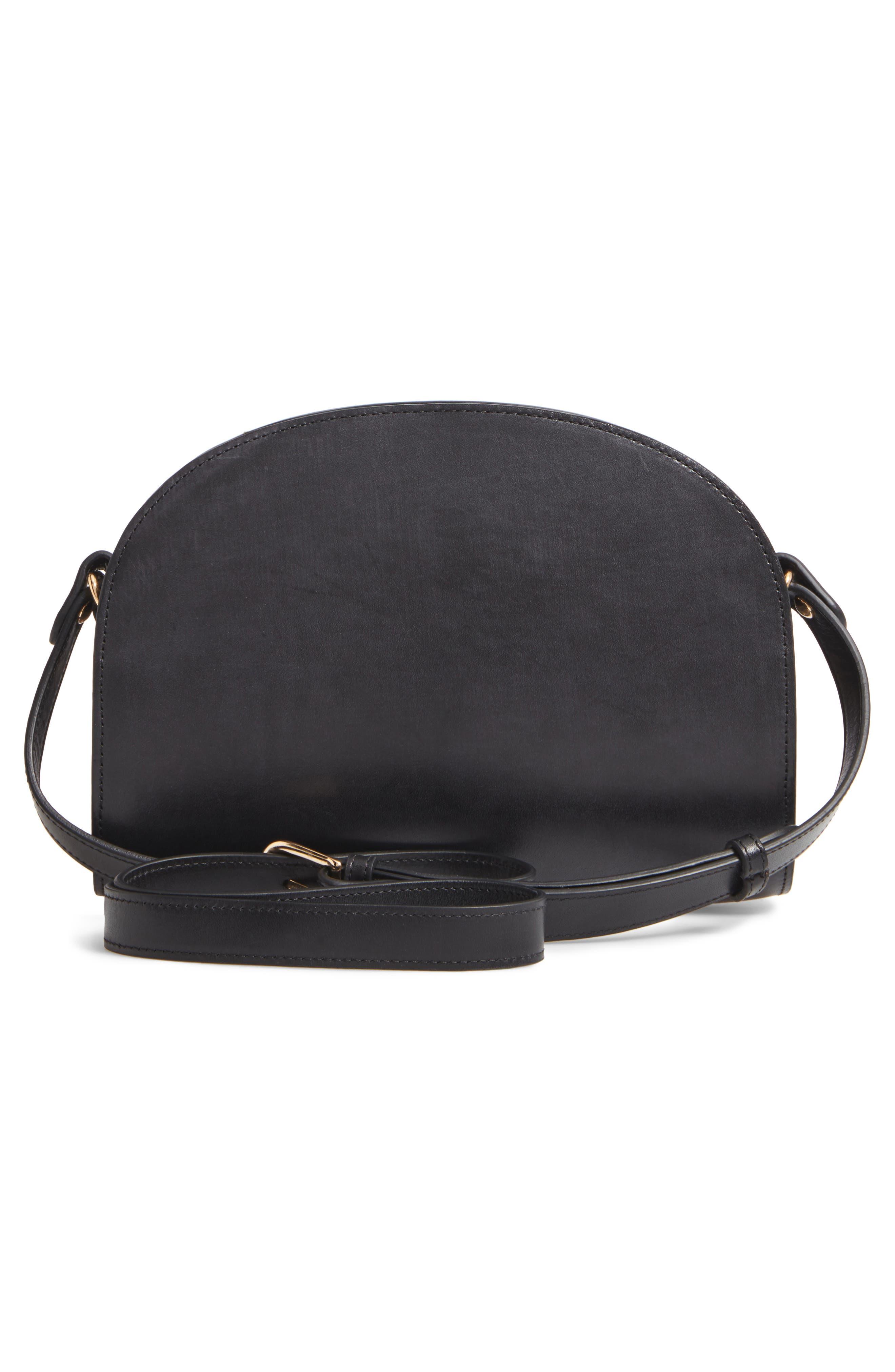 Sac Demi Lune Leather Crossbody Bag,                             Alternate thumbnail 3, color,                             001