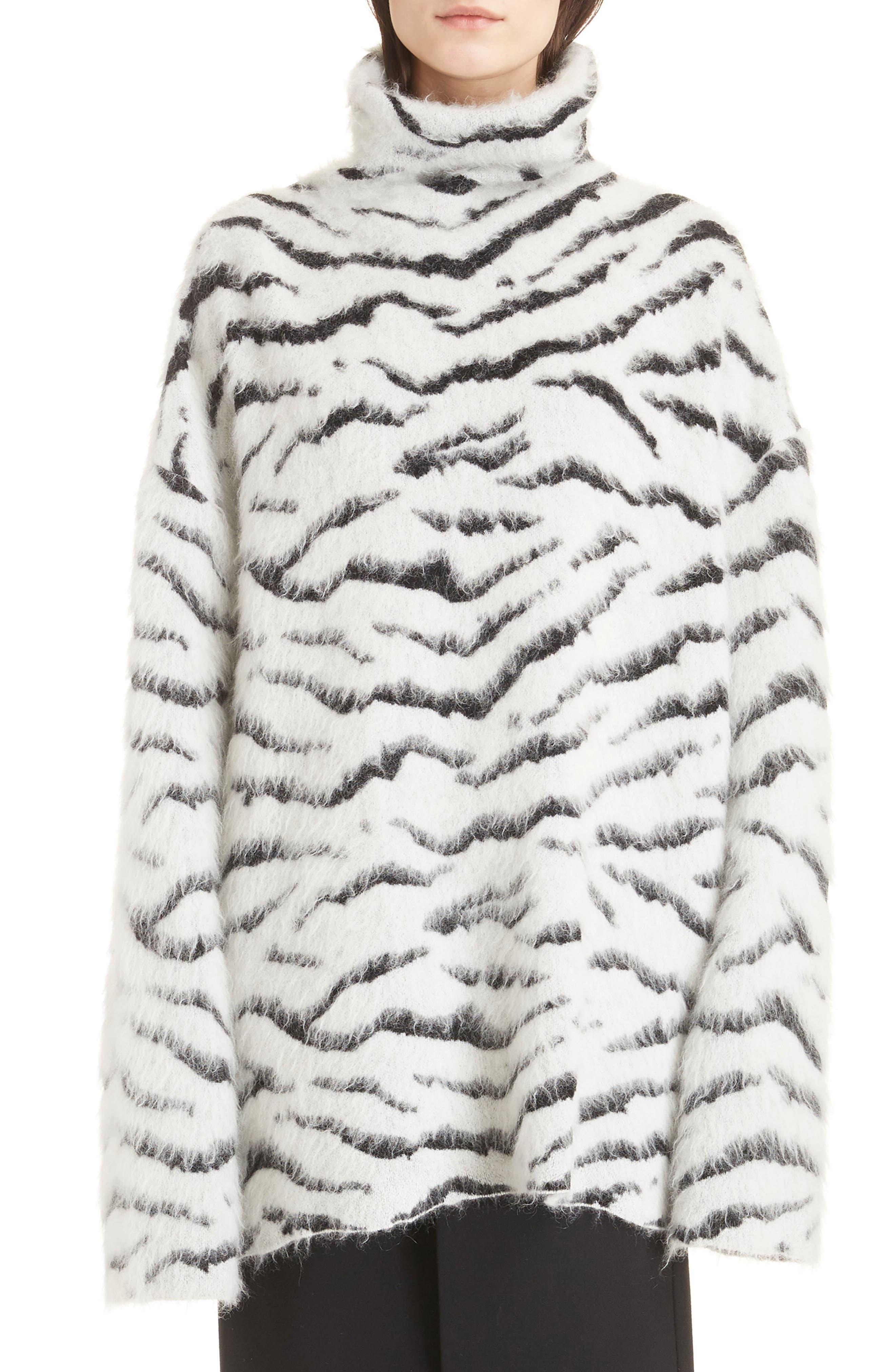Zebra Stripe Mohair Blend Turtleneck Sweater,                             Main thumbnail 1, color,                             116