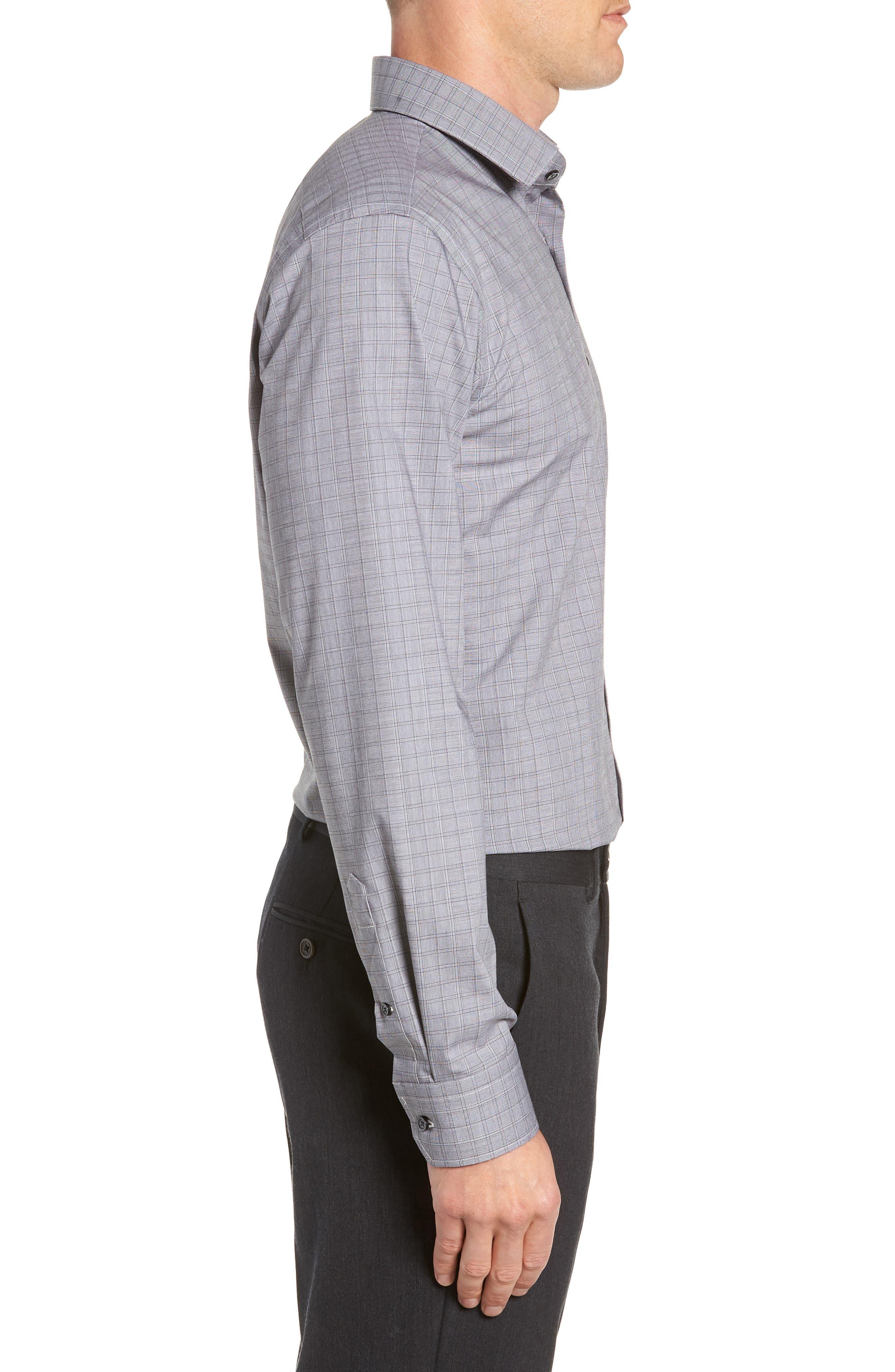 Trim Fit Stretch Non-Iron Check Dress Shirt,                             Alternate thumbnail 4, color,                             BLACK METEORITE