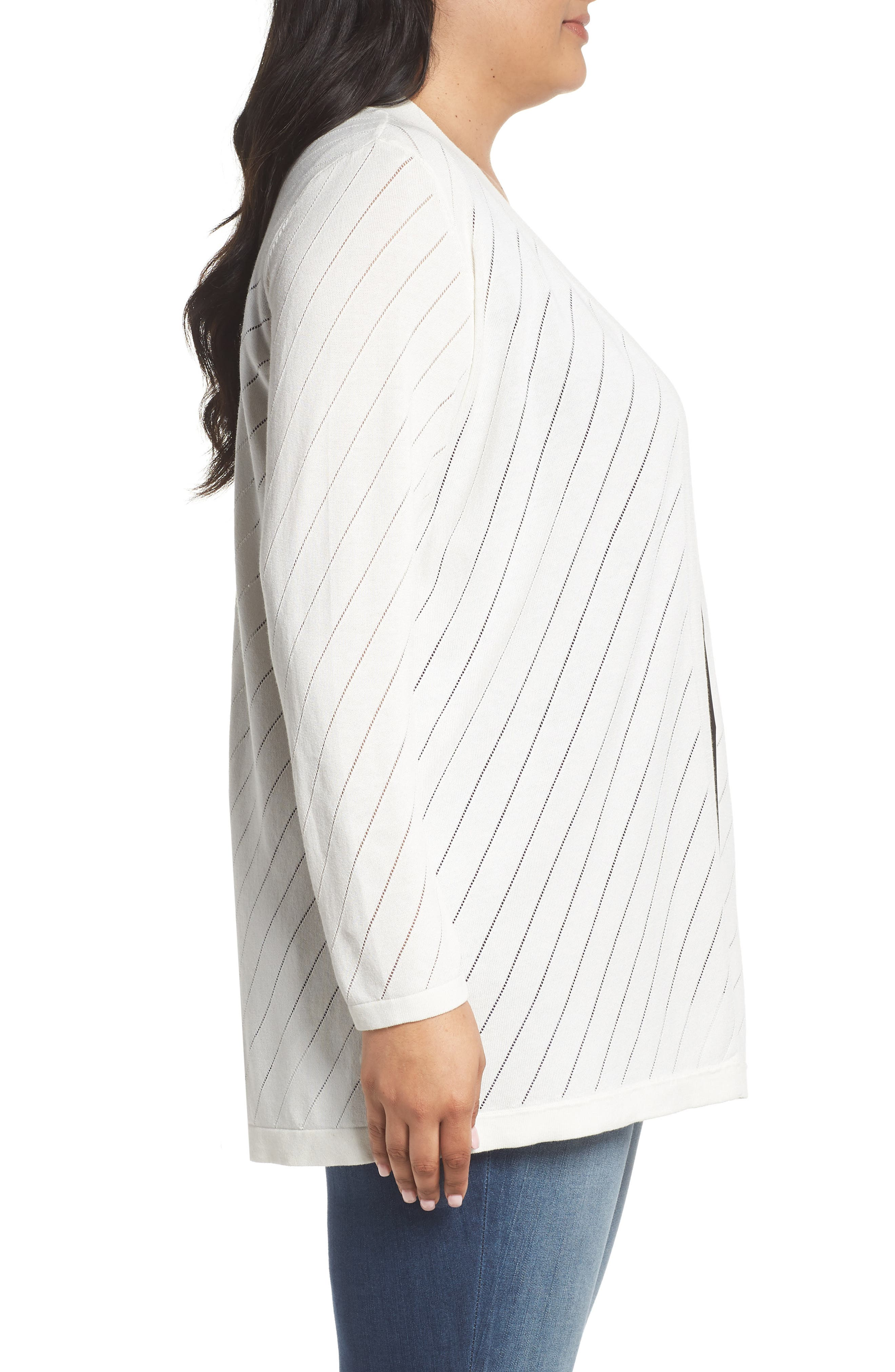 Pointelle Open Front Cardigan,                             Alternate thumbnail 3, color,                             NEW IVORY