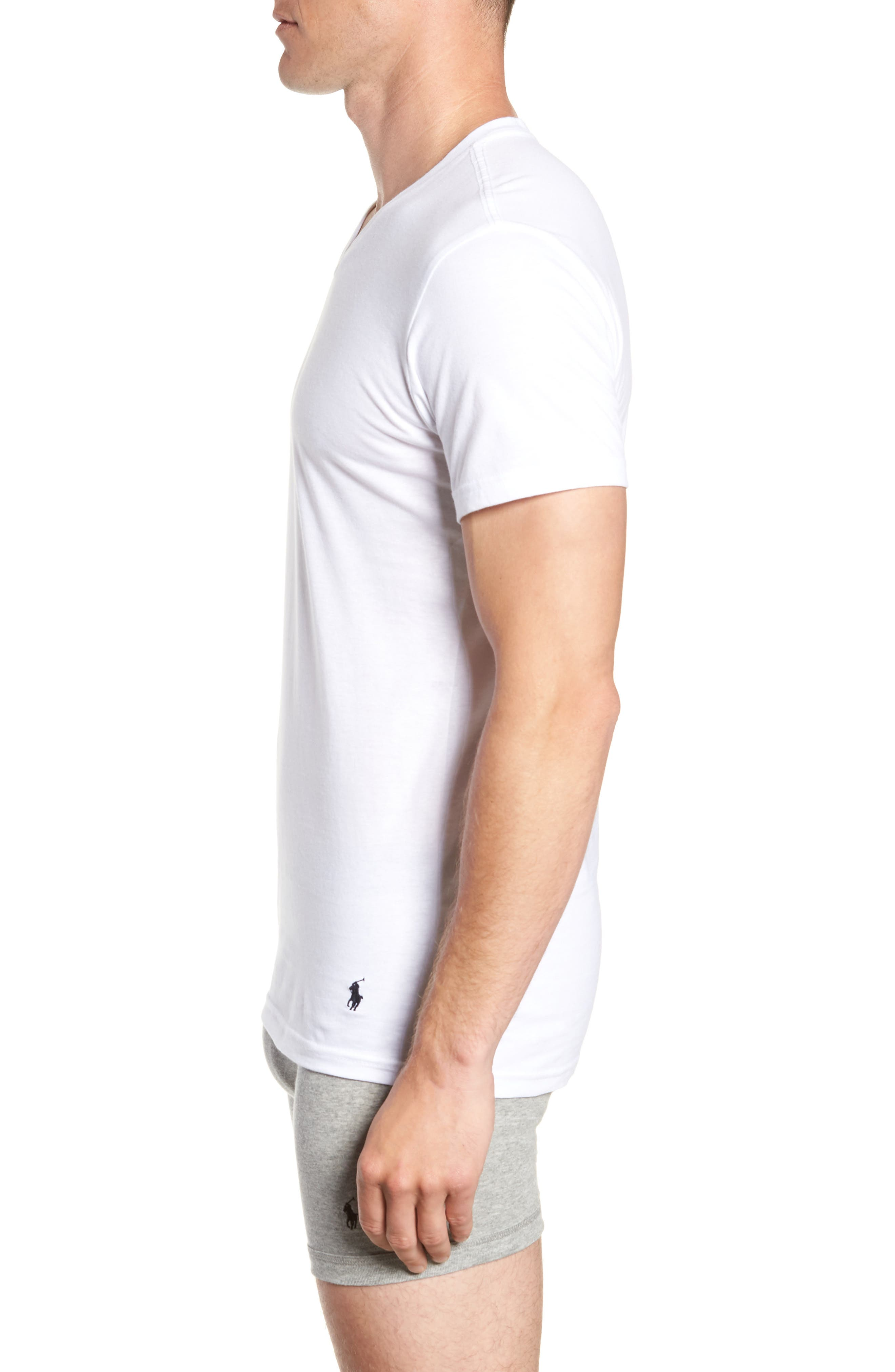 Polo Ralph Lauren 3-Pack Slim Fit V-Neck T-Shirts,                             Alternate thumbnail 4, color,                             WHITE