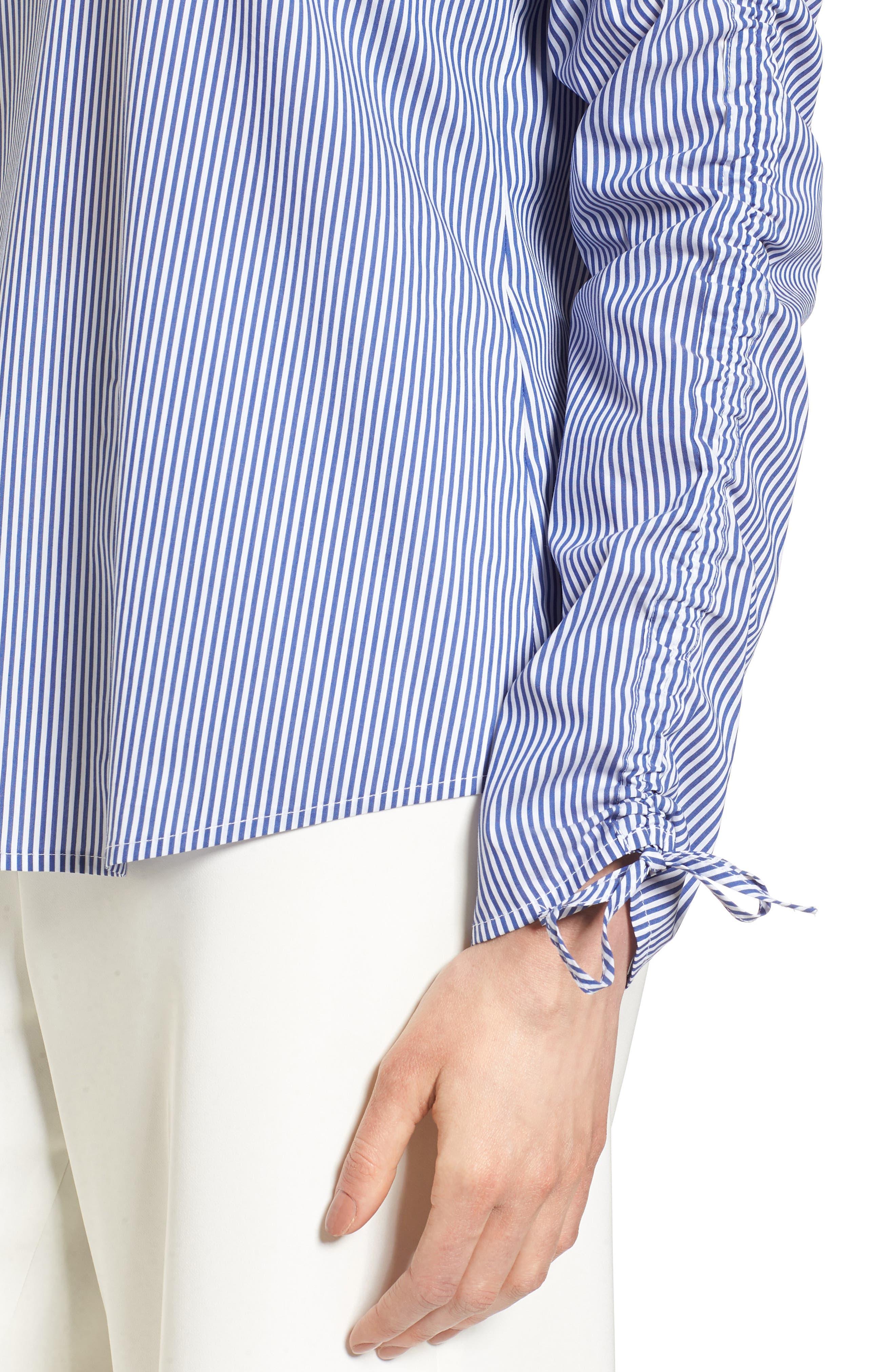 Cinch Sleeve V-Neck Top,                             Alternate thumbnail 8, color,