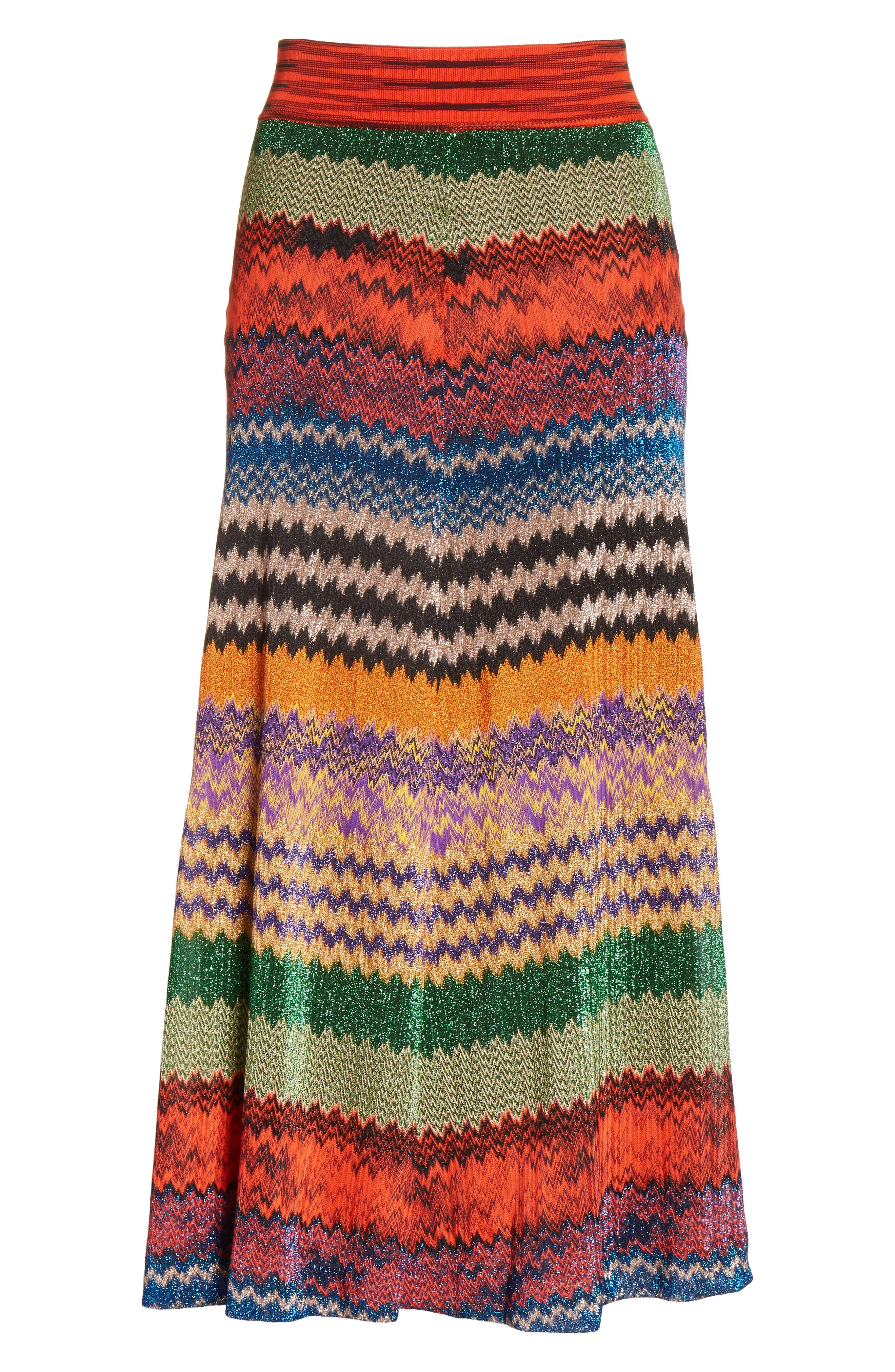 Metallic Stripe Knit Midi Skirt,                             Alternate thumbnail 6, color,                             640