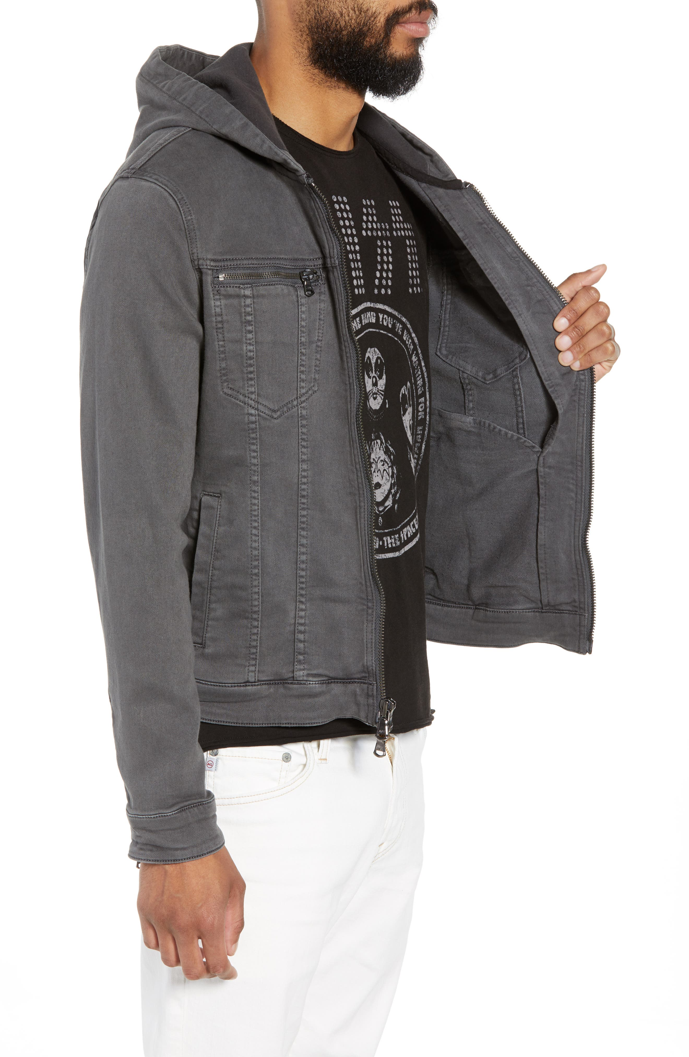 Hooded Denim Jacket,                             Alternate thumbnail 3, color,                             020