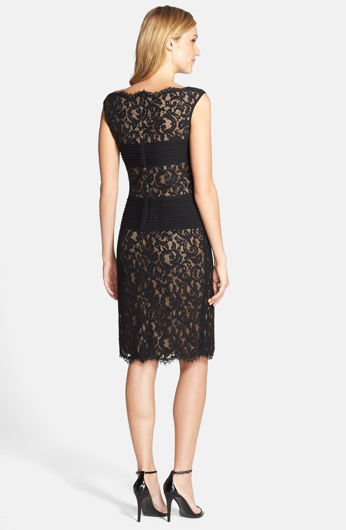 Crisscross Waist Lace Sheath Dress,                             Alternate thumbnail 3, color,                             004