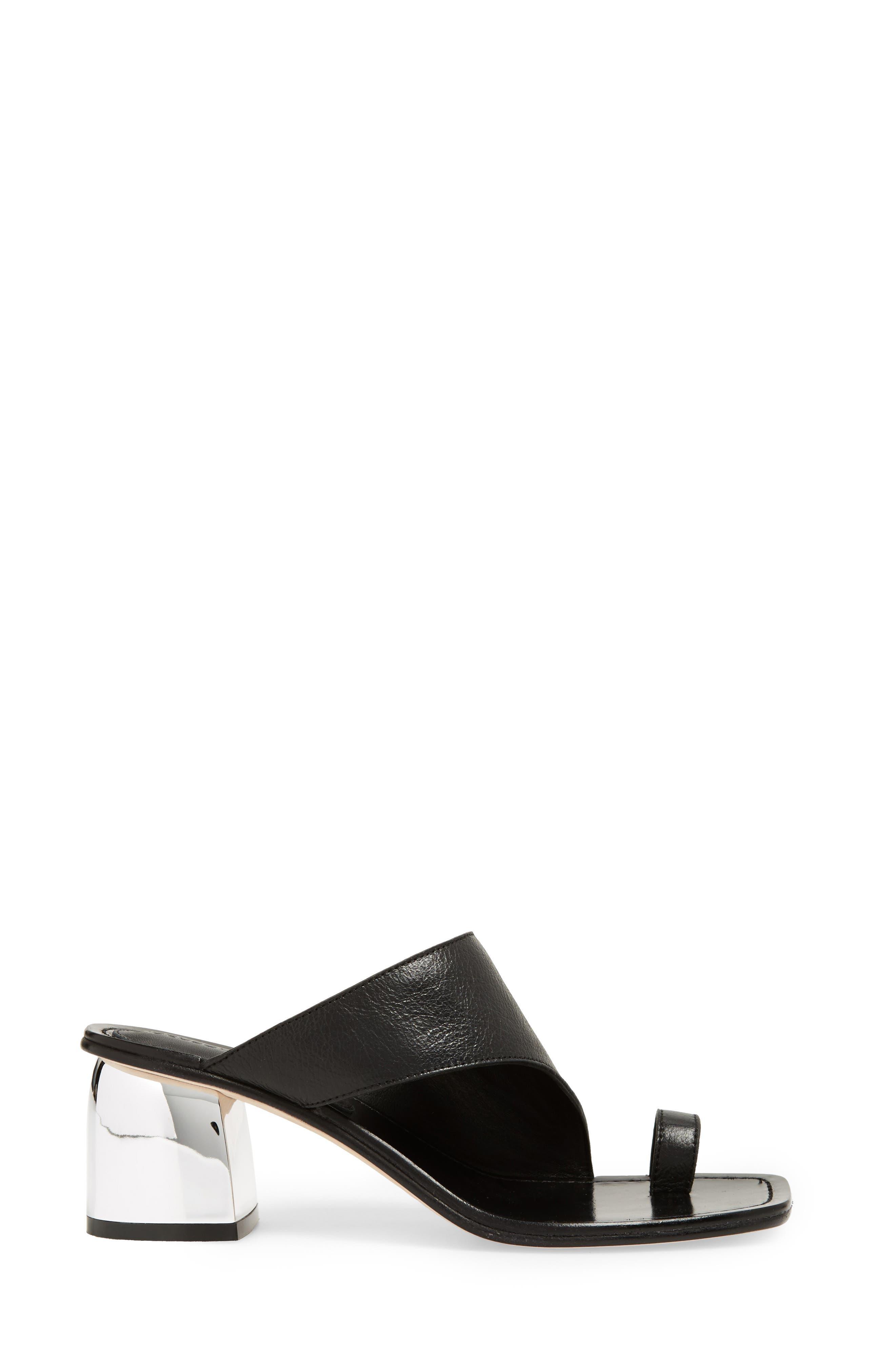 Block Heel Toe Loop Sandal,                             Alternate thumbnail 3, color,                             001