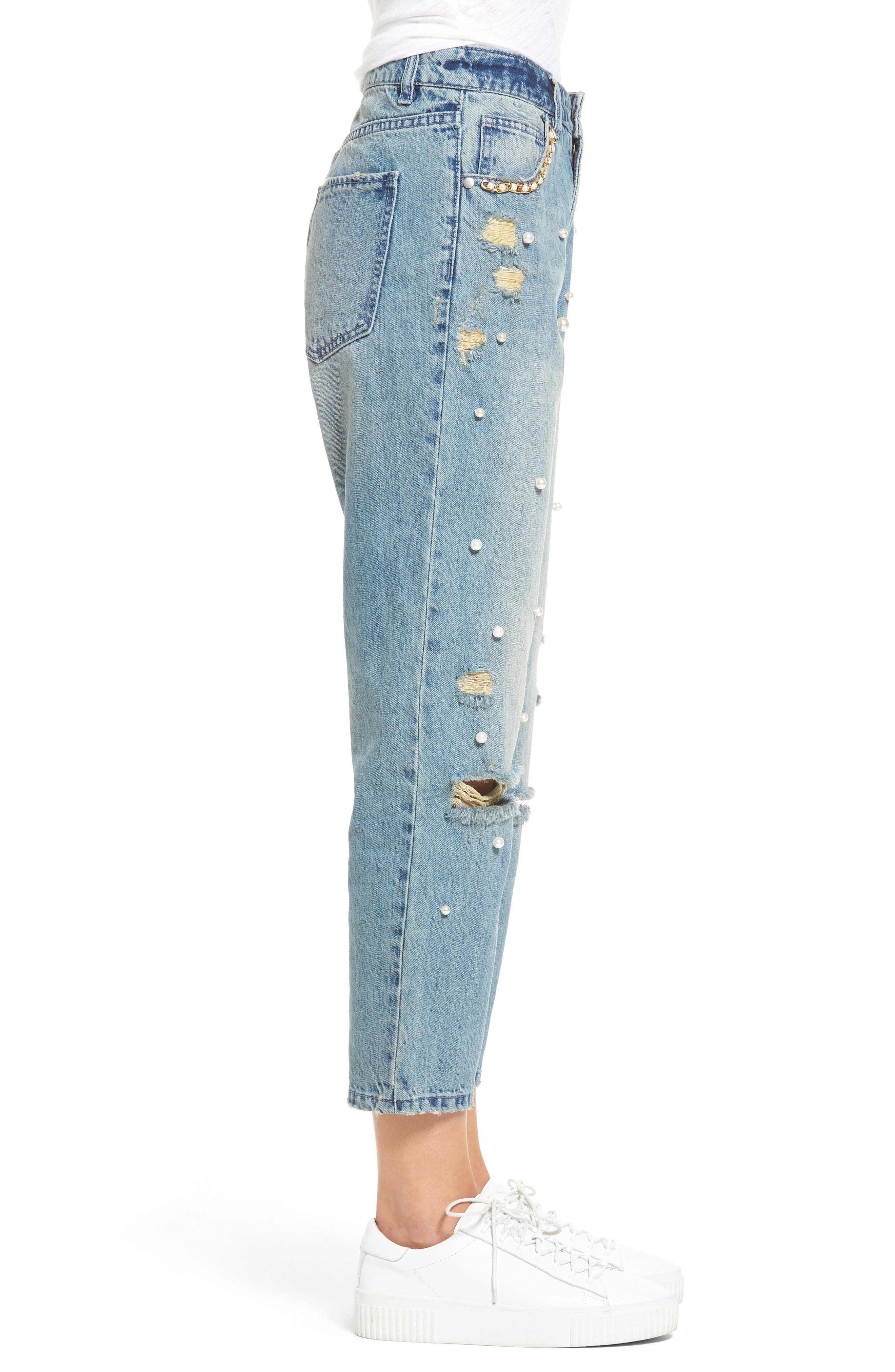 Distressed Pearl Boyfriend Jeans,                             Alternate thumbnail 3, color,                             430