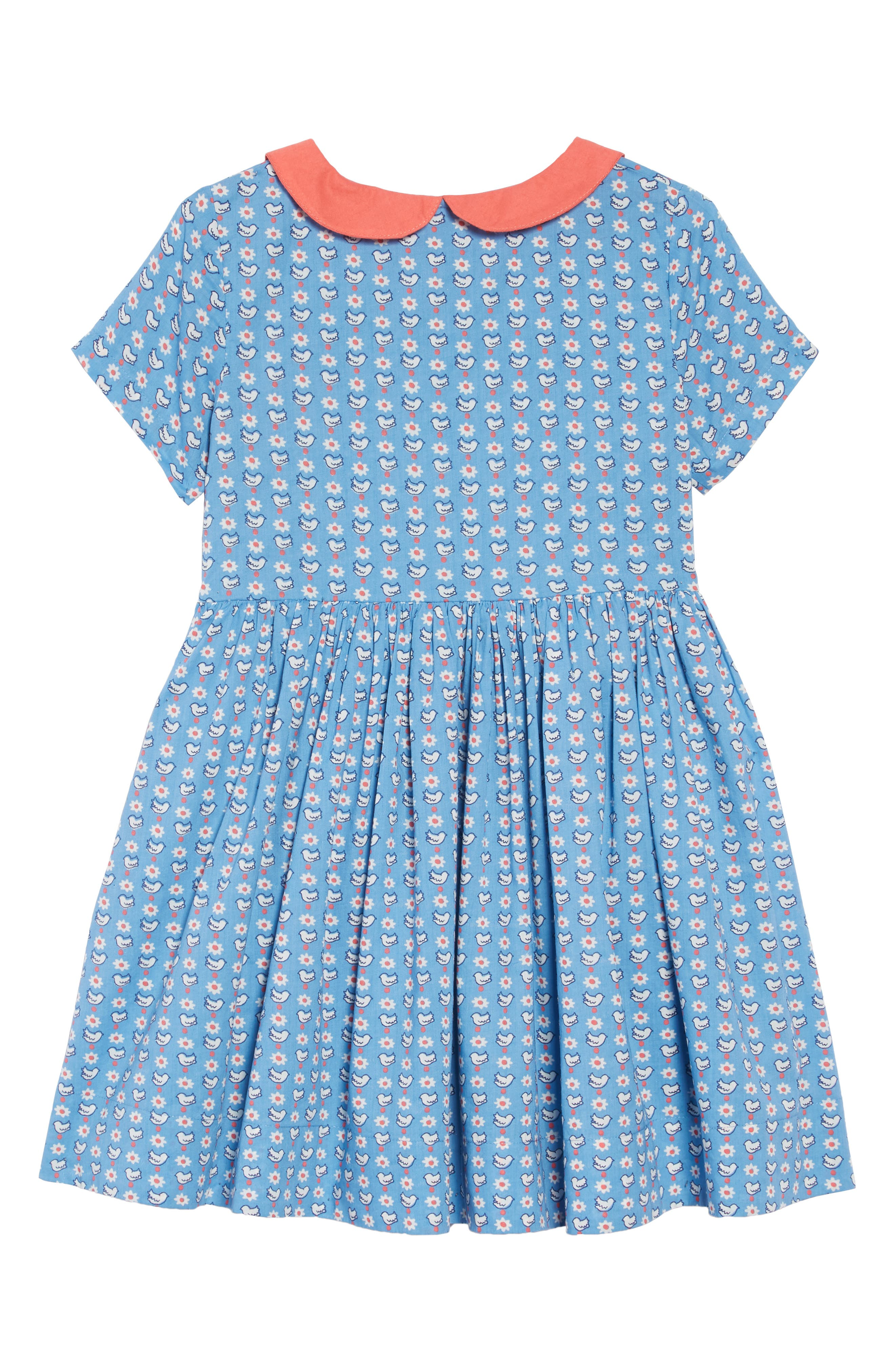 Nostalgic Collared Dress,                             Alternate thumbnail 2, color,                             BLUE GEO BIRDS