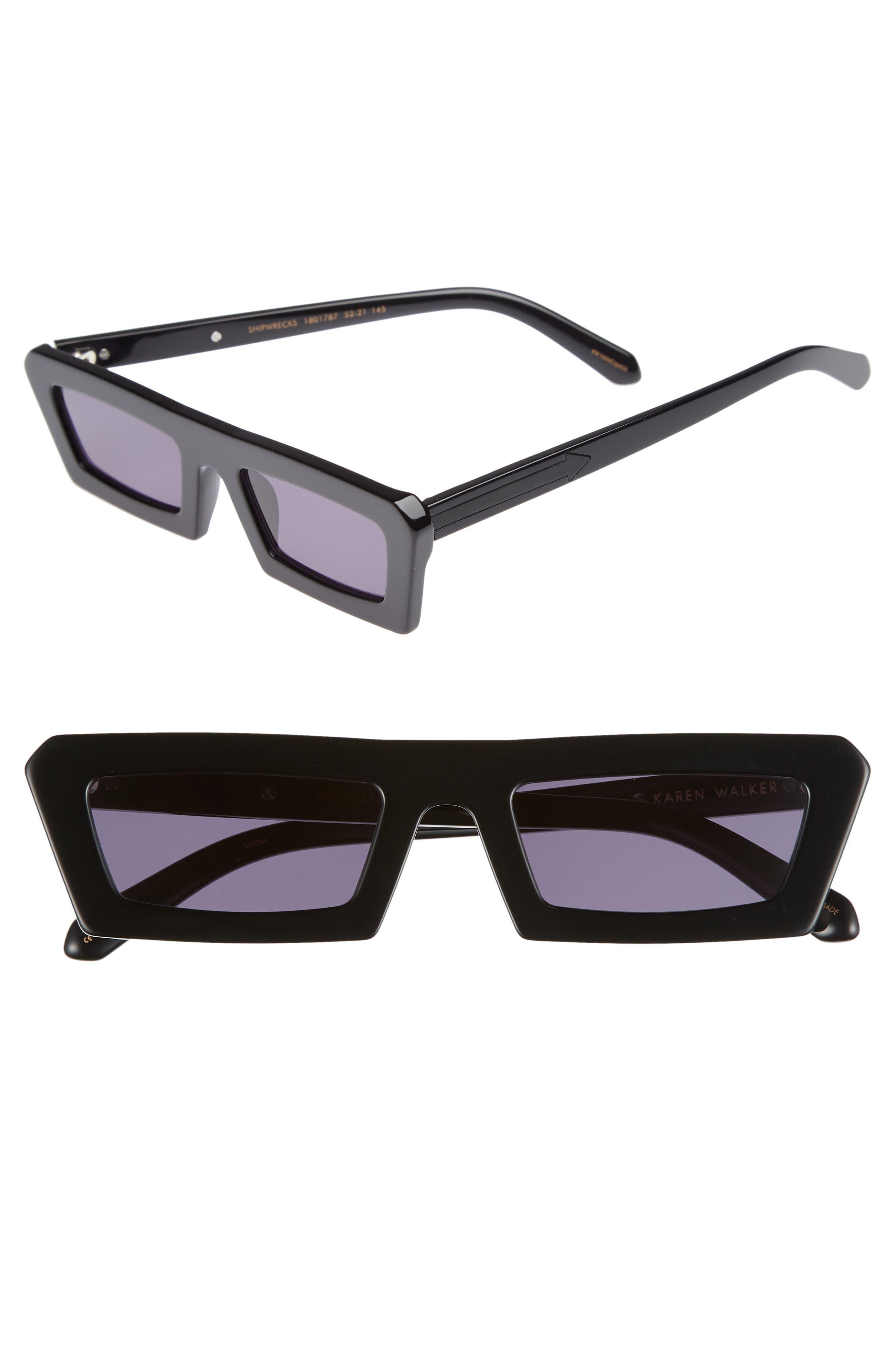 Shipwrecks 52mm Square Sunglasses,                             Main thumbnail 1, color,                             BLACK/ SMOKE