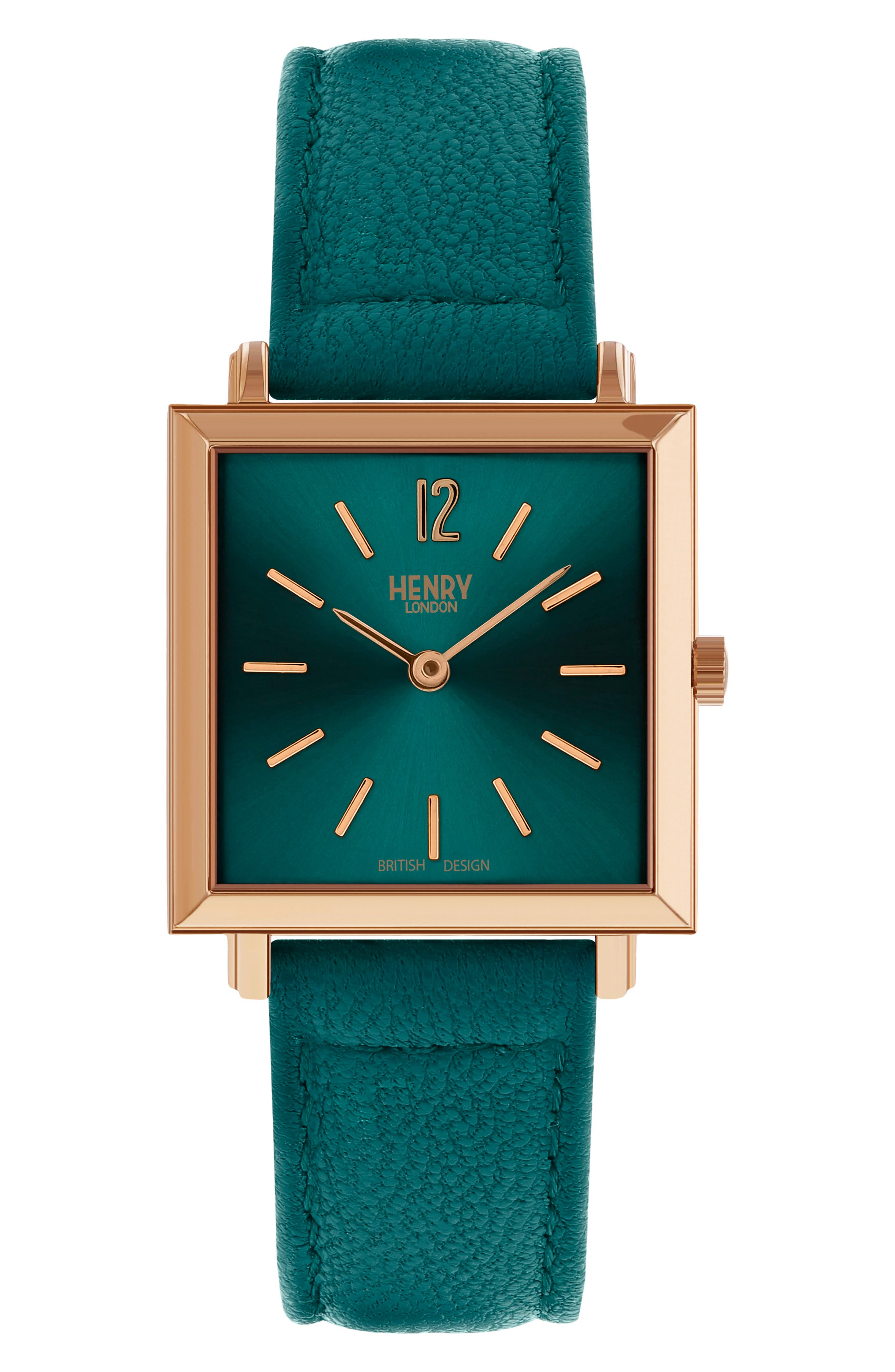 HENRY LONDON Heritage Leather Strap Watch, 26Mm in Mallard/ Rose Gold