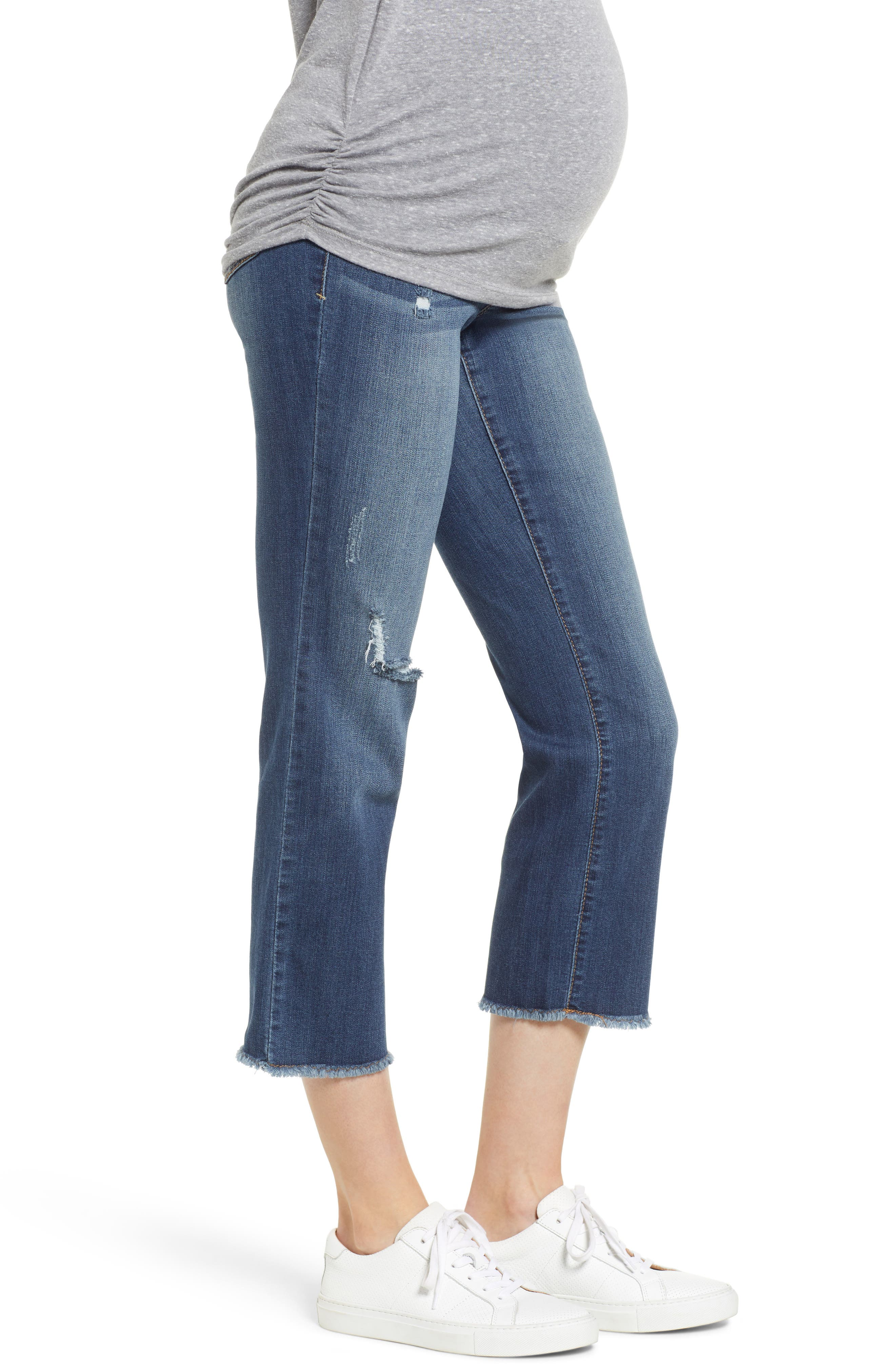 Cassie Crop Straight Leg Maternity Jeans,                             Alternate thumbnail 3, color,                             CASSIE
