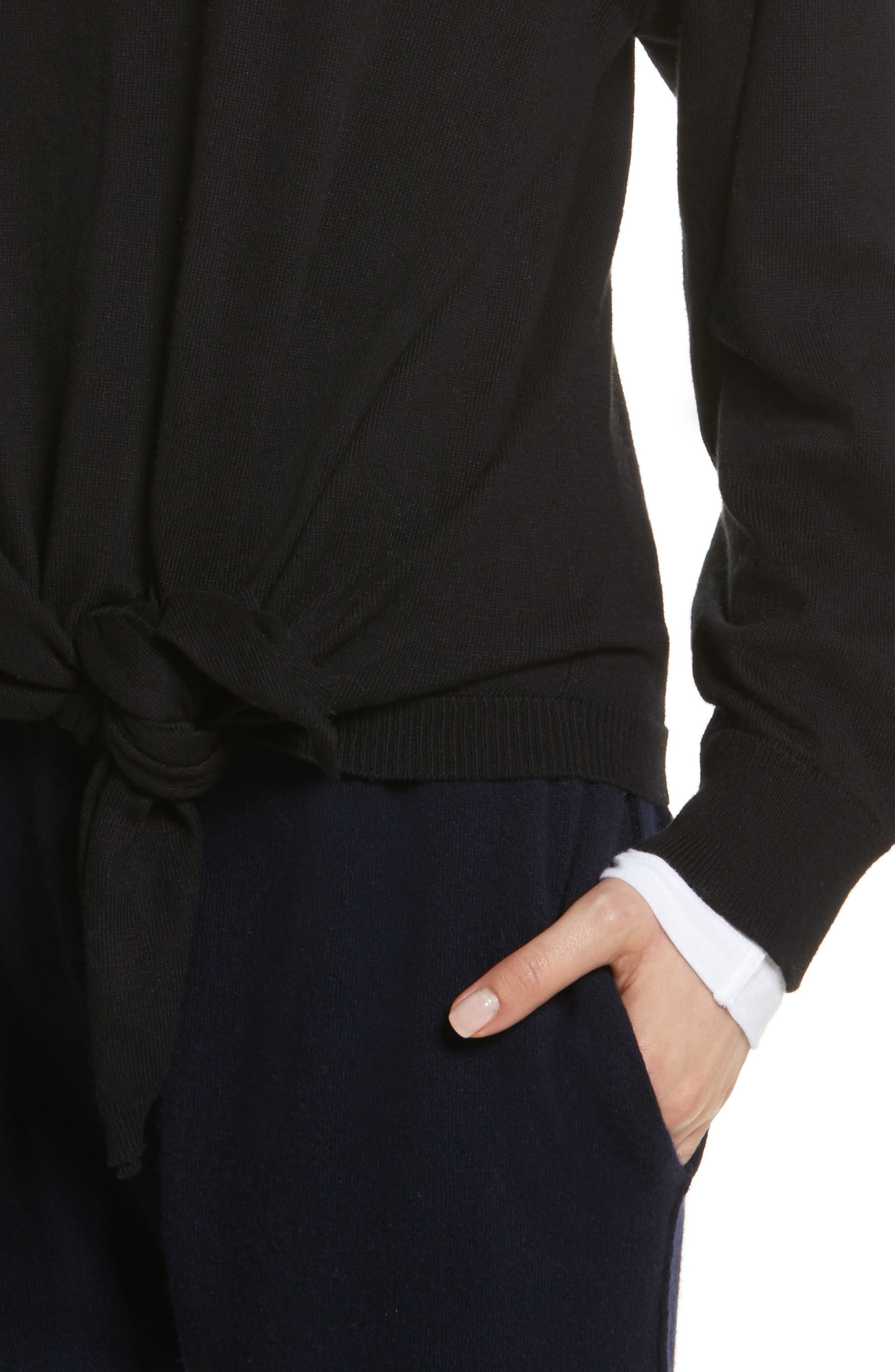 Tie Waist Sweater,                             Alternate thumbnail 4, color,                             001