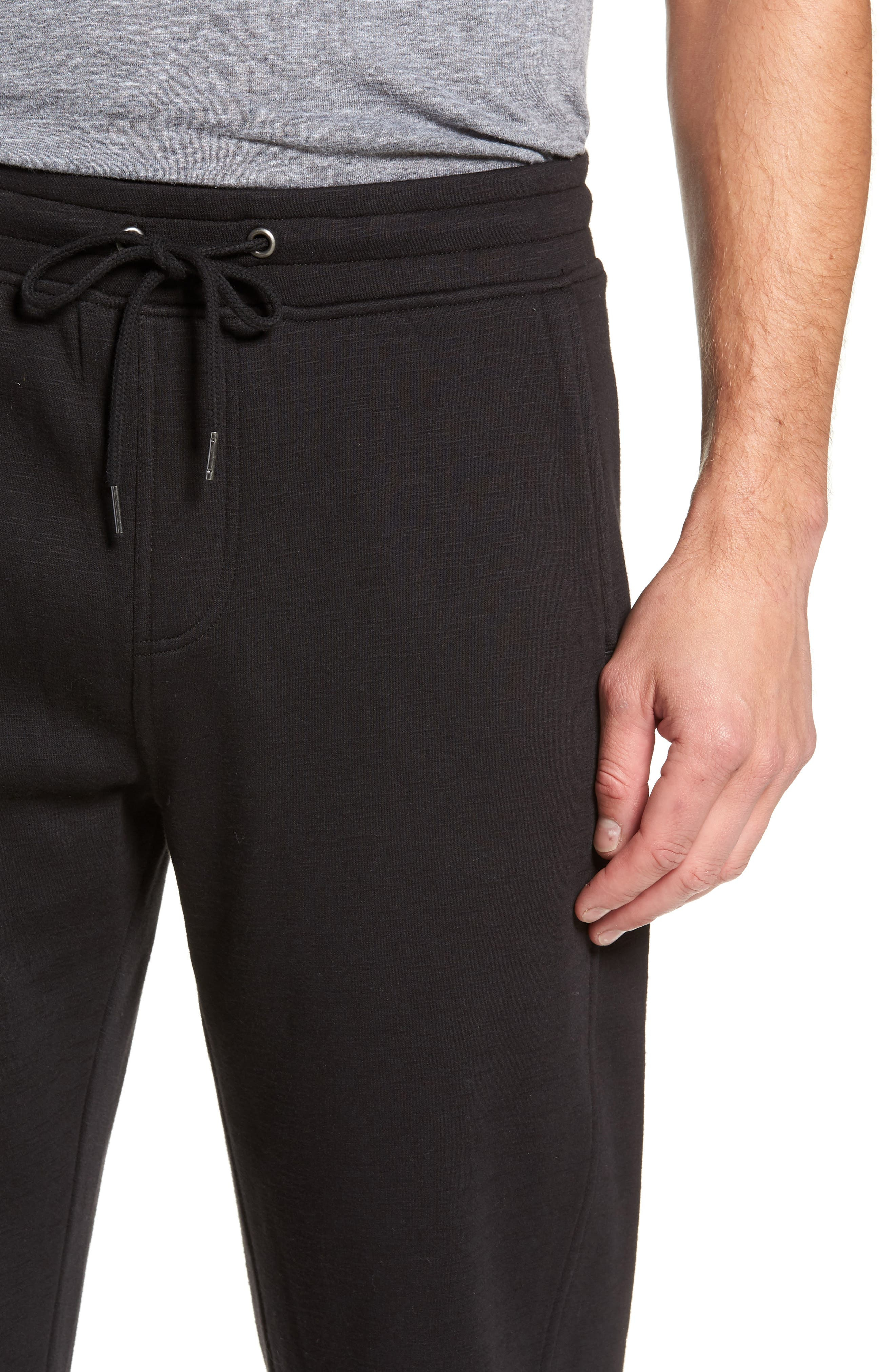 French Terry Moto Pants,                             Alternate thumbnail 4, color,                             BLACK HEATHER