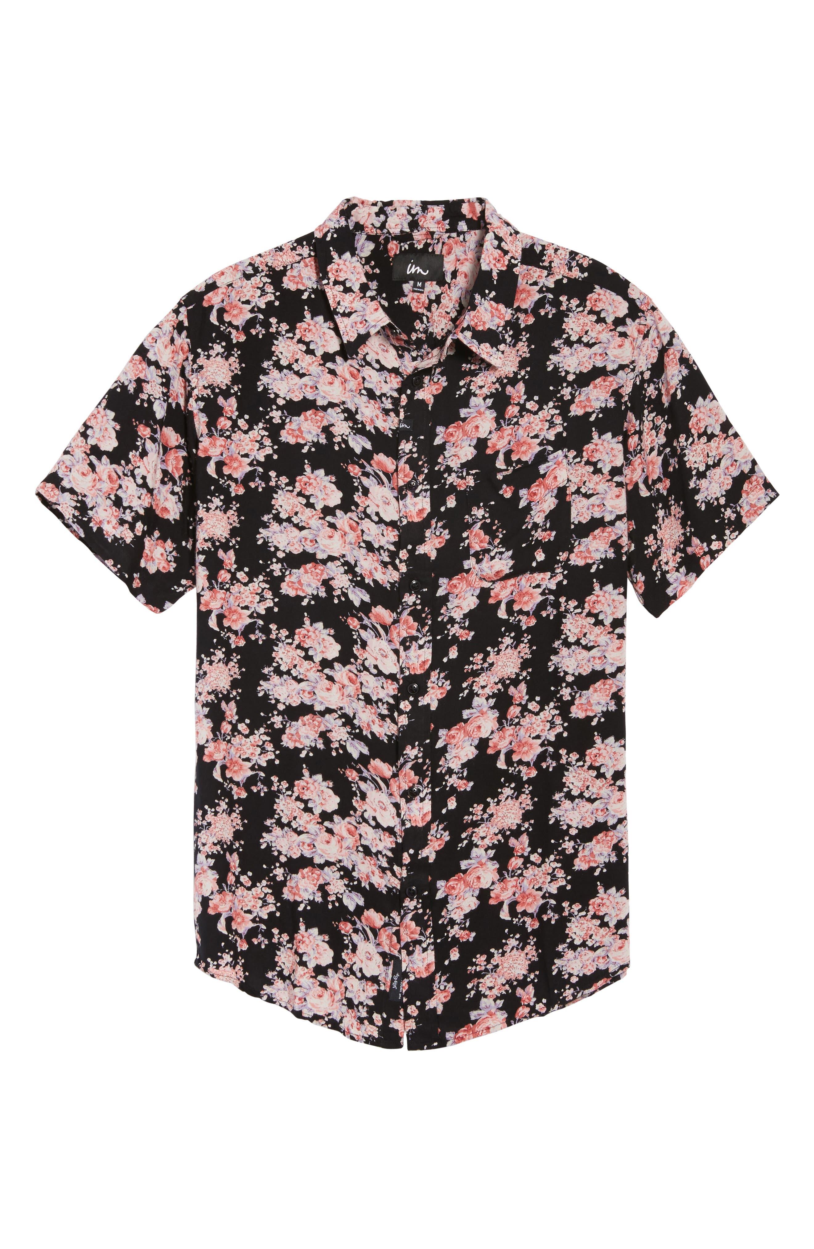 Flora Trim Fit Woven Shirt,                             Alternate thumbnail 6, color,                             001