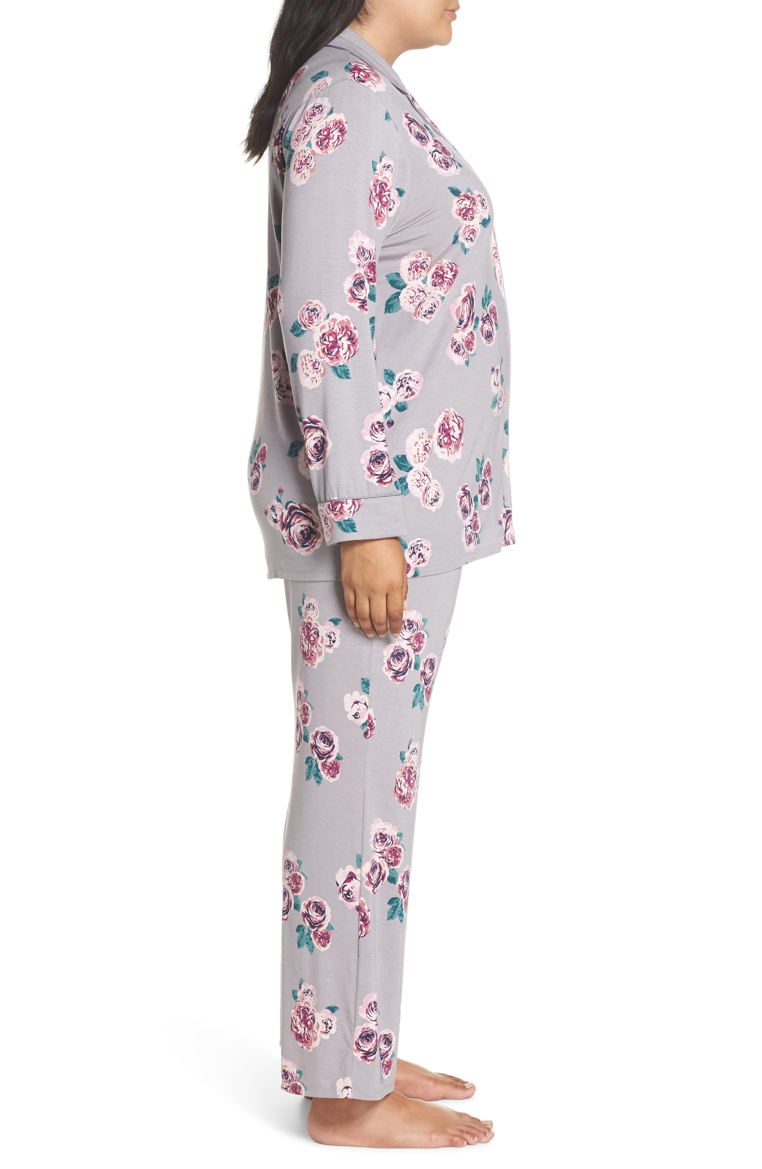 'Moonlight' Pajamas,                             Alternate thumbnail 3, color,                             GREY GULL HOLIDAY ROSE